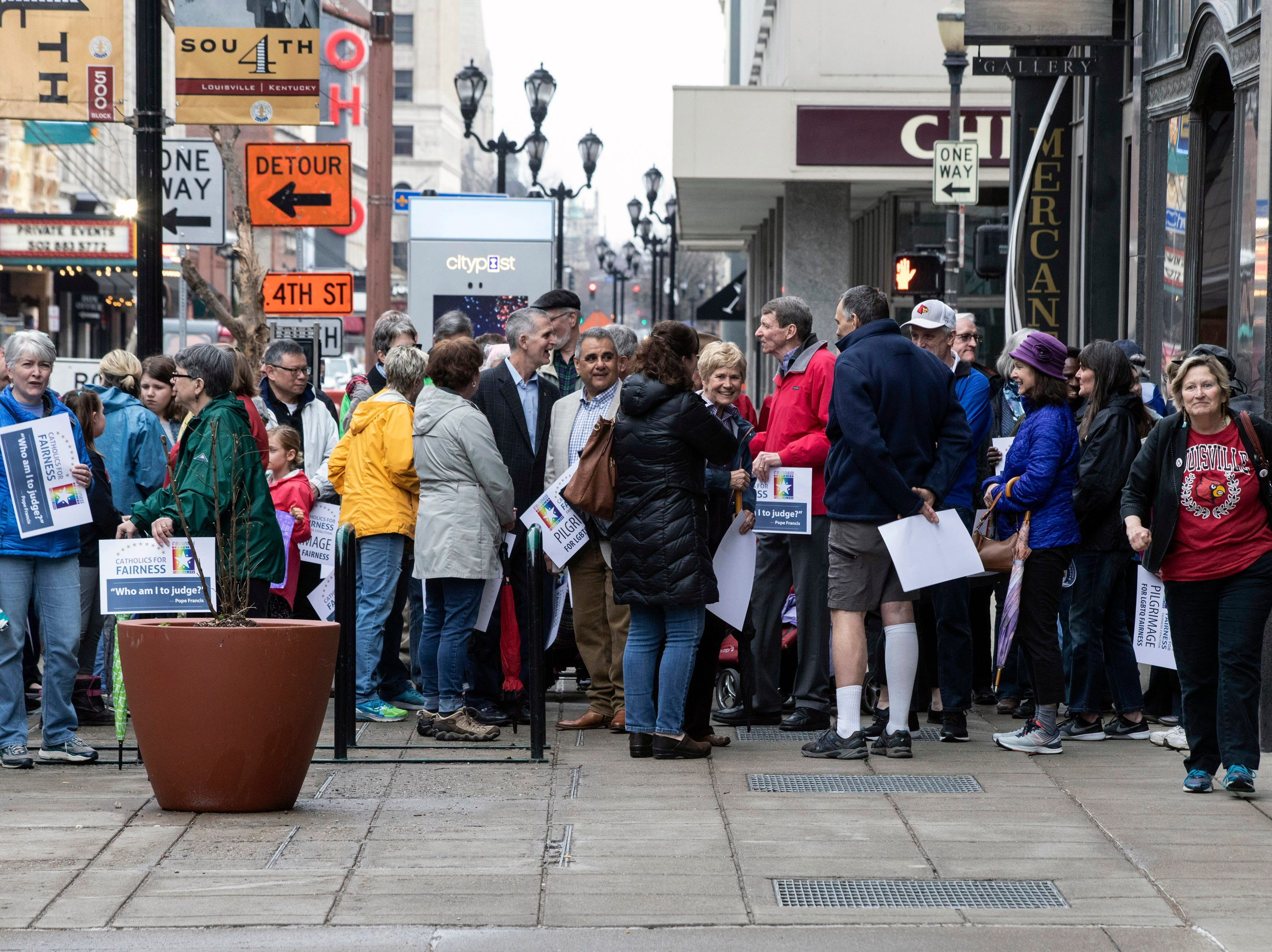 Participants in the annual Catholics for Fairness Pilgrimage met at the Volunteers of America on South Fourth Street Sunday before marching to the Cathedral of the Assumption for mass. March 24, 2019