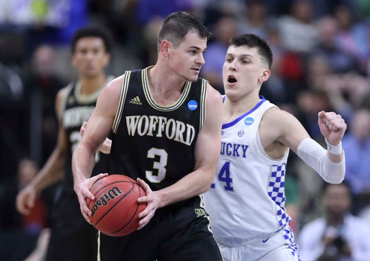 Kentucky's Tyler Herro shut down Wofford's Fletcher Magee in the Wildcats 62-56 win in the second round game of the 2019 NCAA tournament in Jacksonville, Fla. March 23, 2019