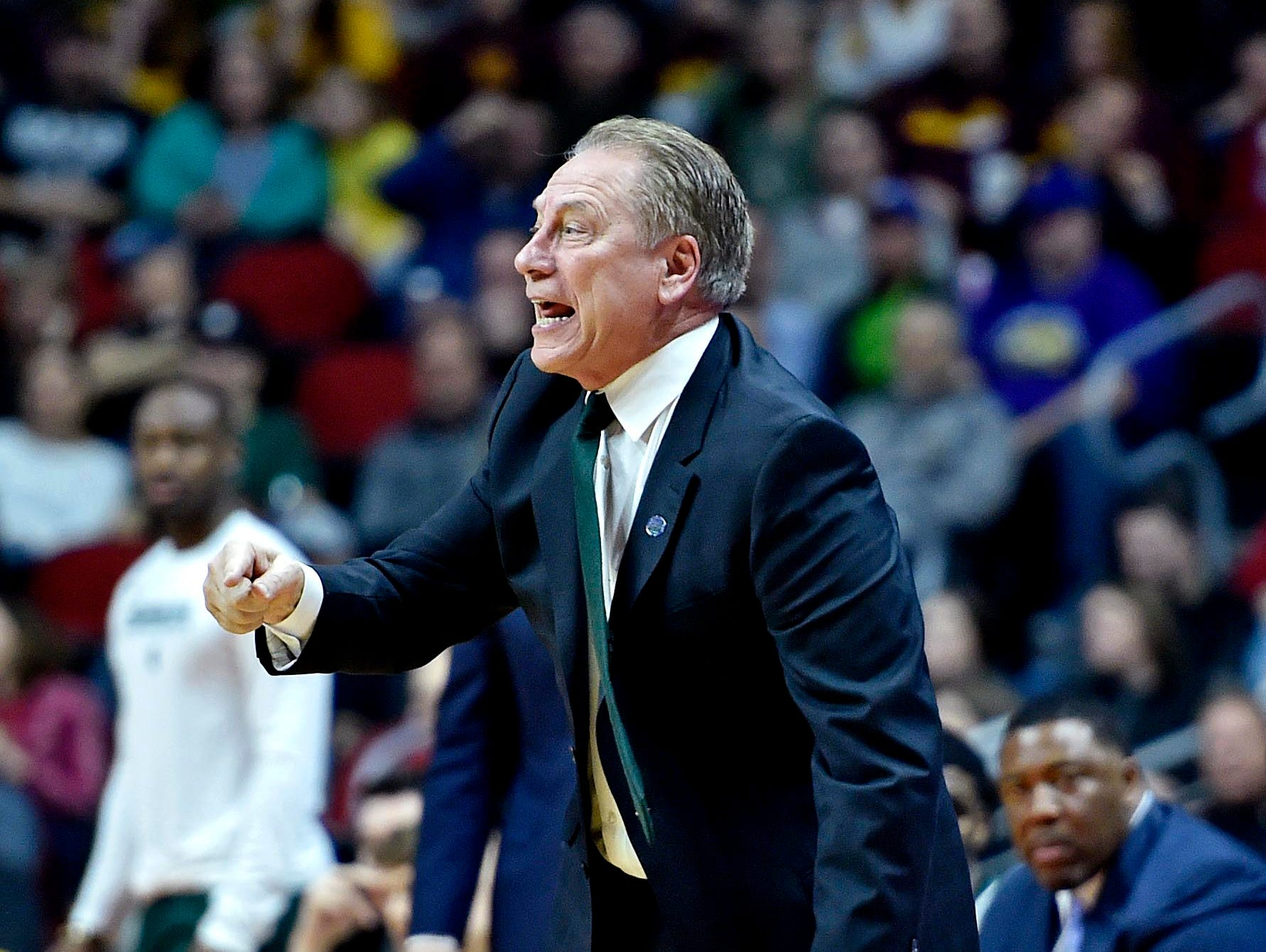 Mar 23, 2019; Des Moines, IA, United States; Michigan State Spartans head coach Tom Izzo reacts during the first half against the Minnesota Golden Gophers in the second round of the 2019 NCAA Tournament at Wells Fargo Arena. Mandatory Credit: Jeffrey Becker-USA TODAY Sports