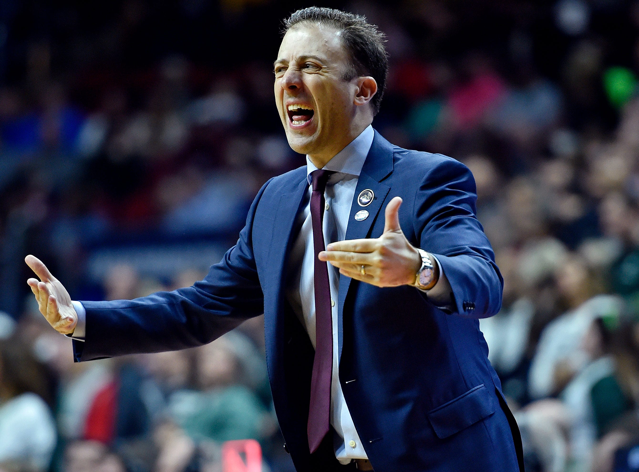 Mar 23, 2019; Des Moines, IA, United States; Minnesota Golden Gophers head coach Richard Pitino reacts during the second half against the Michigan State Spartans in the second round of the 2019 NCAA Tournament at Wells Fargo Arena. Mandatory Credit: Jeffrey Becker-USA TODAY Sports