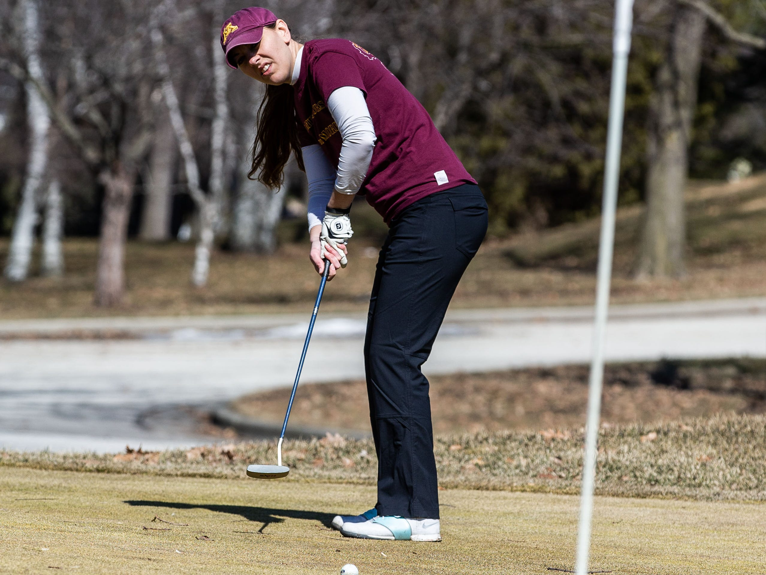 Andrea Gillman of New Berlin plays a round at Greenfield Park Golf Course on Saturday, March 23, 2019. Warm sunny weather lured many enthusiasts outside to enjoy the game.