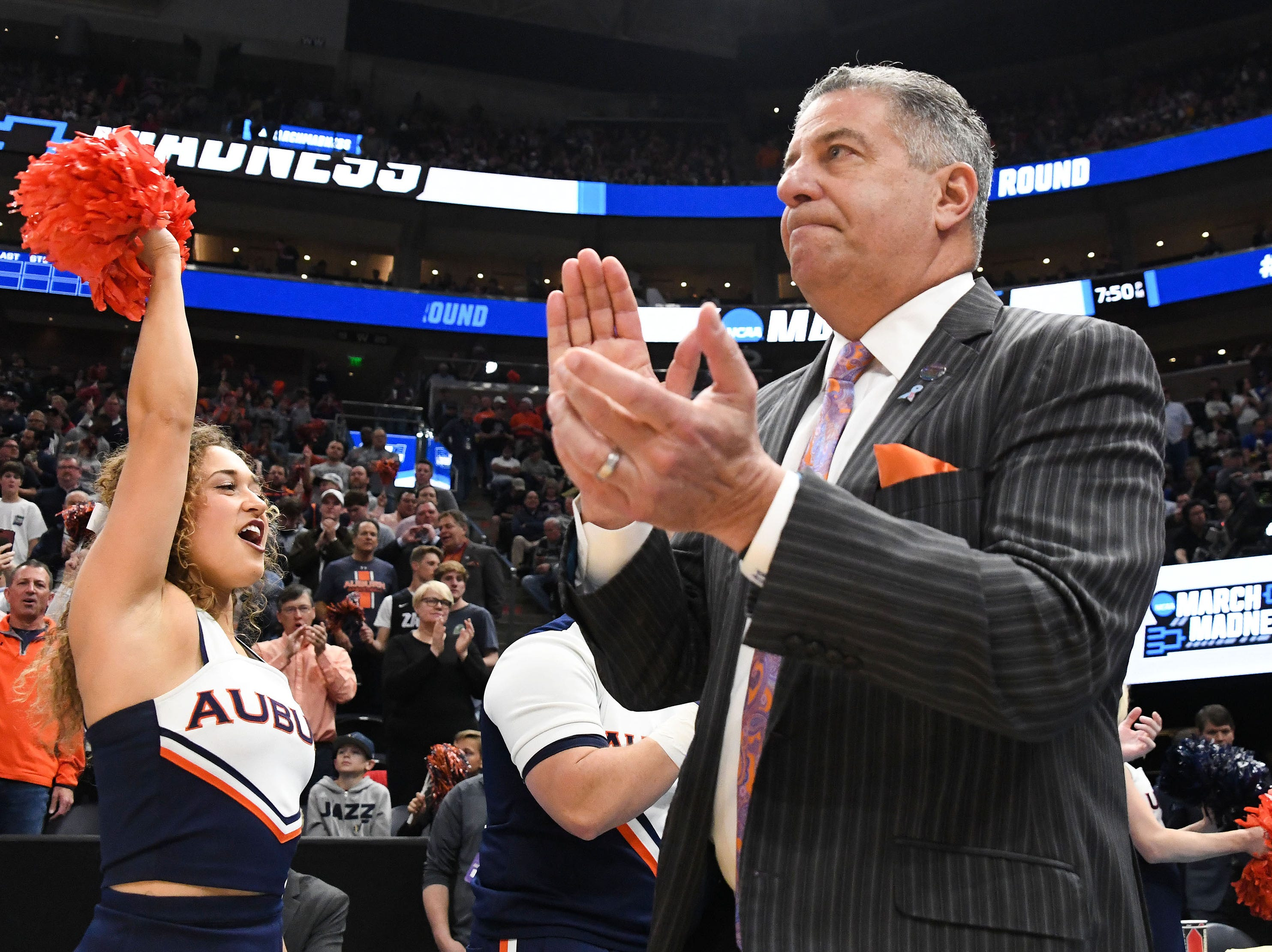 Mar 23, 2019; Salt Lake City, UT, USA; Auburn Tigers head coach Bruce Pearl arrives on the court before the game in the second round of the 2019 NCAA Tournament against the Kansas Jayhawks at Vivint Smart Home Arena. Mandatory Credit: Kirby Lee-USA TODAY Sports
