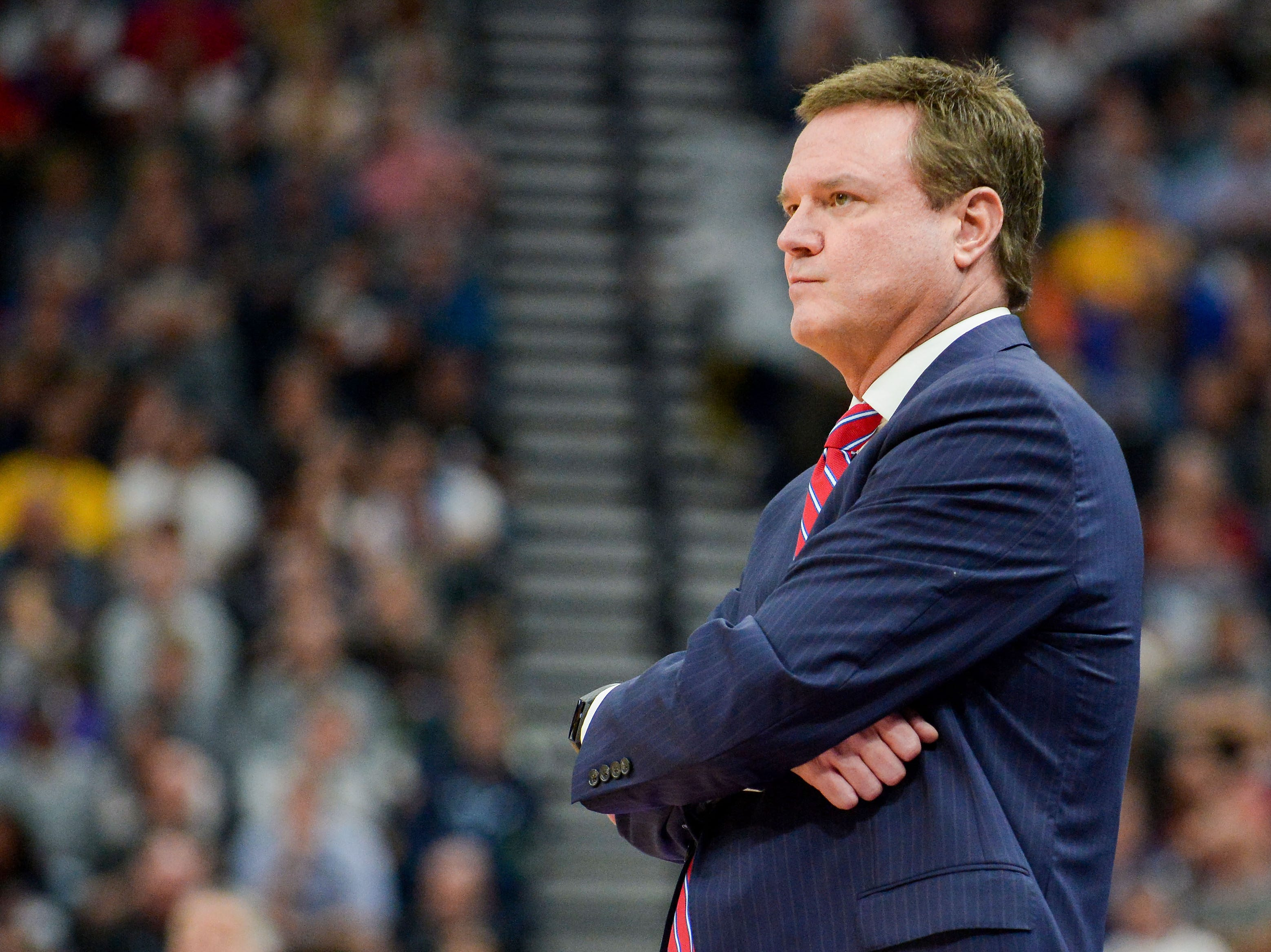 Mar 23, 2019; Salt Lake City, UT, USA; Kansas Jayhawks head coach Bill Self looks on during the first half in the second round of the 2019 NCAA Tournament against the Auburn Tigers at Vivint Smart Home Arena. Mandatory Credit: Gary A. Vasquez-USA TODAY Sports