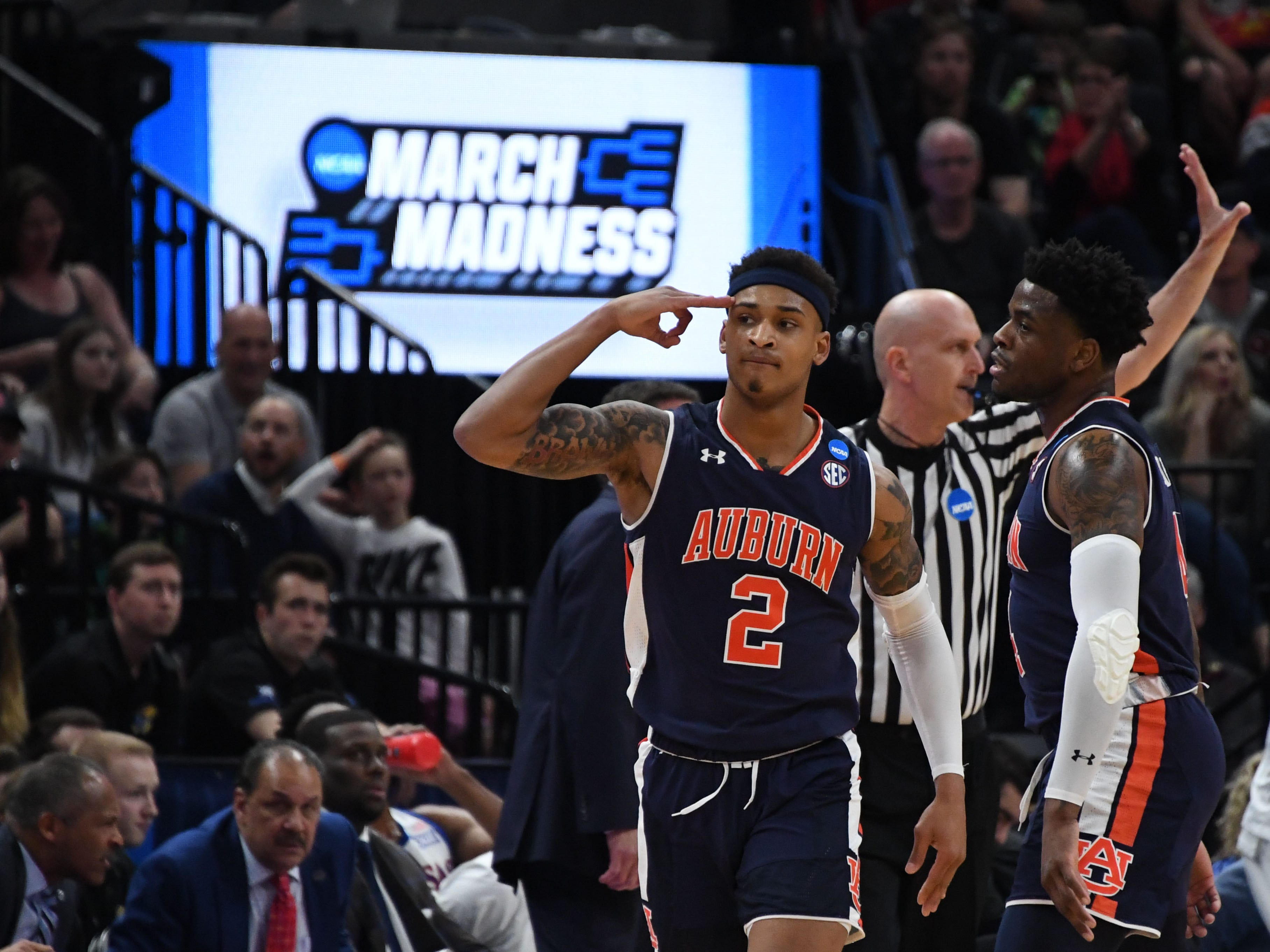 Auburn Tigers guard Bryce Brown (2) reacts after making a 3-pointer against Kansas during the second round of the NCAA Tournament at Vivint Smart Home Arena on March 23, 2019, in Salt Lake City.