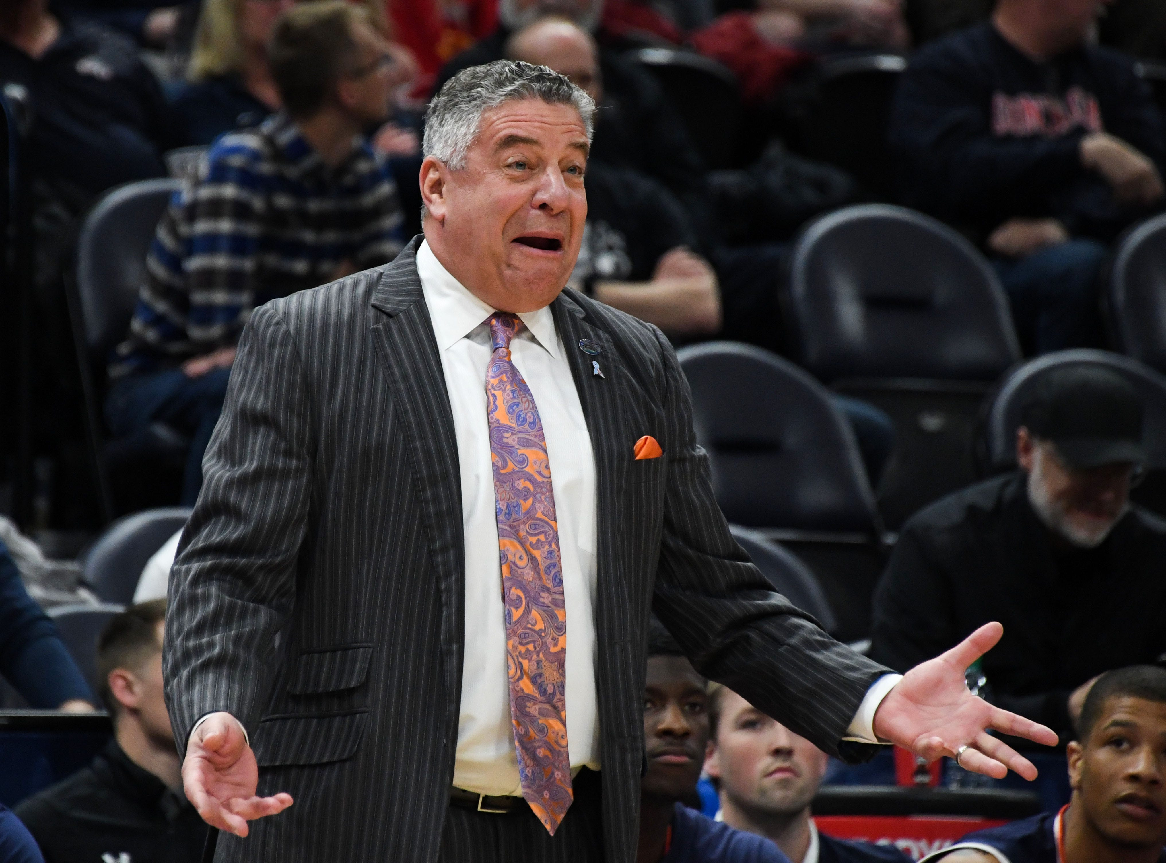 Mar 23, 2019; Salt Lake City, UT, USA; Auburn Tigers head coach Bruce Pearl reacts during the first half in the second round of the 2019 NCAA Tournament against the Kansas Jayhawks at Vivint Smart Home Arena. Mandatory Credit: Kirby Lee-USA TODAY Sports