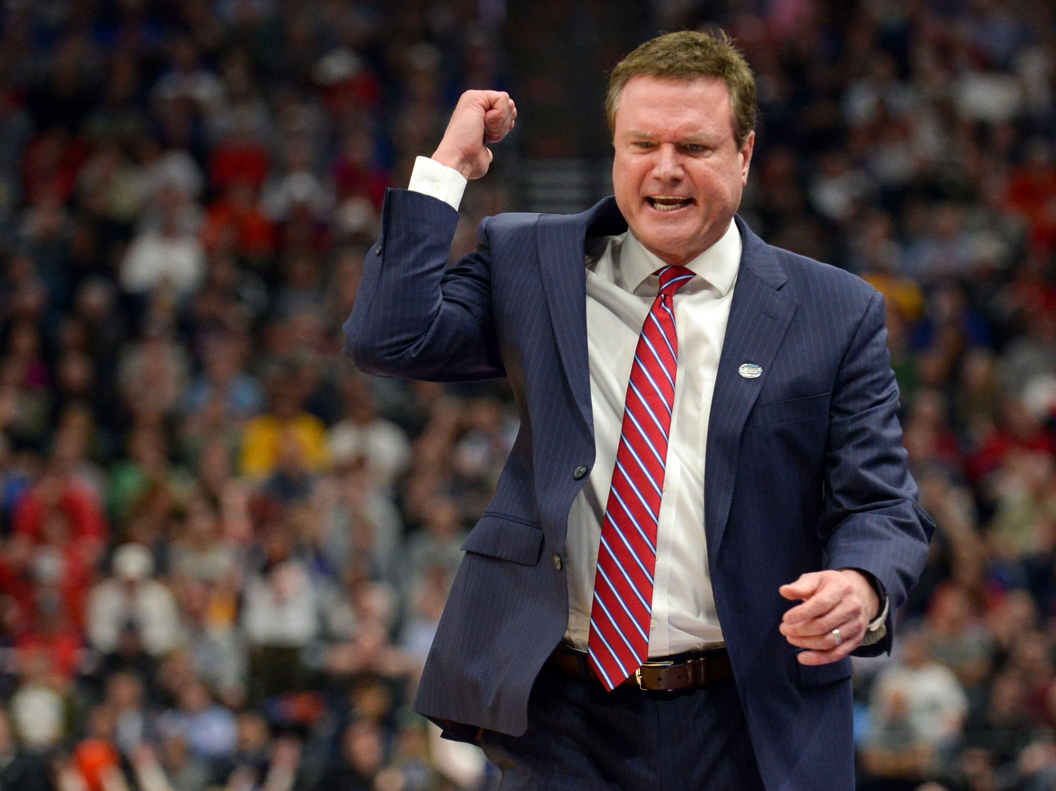 Mar 23, 2019; Salt Lake City, UT, USA; Kansas Jayhawks head coach Bill Self reacts during the first half in the second round of the 2019 NCAA Tournament against the Auburn Tigers at Vivint Smart Home Arena. Mandatory Credit: Gary A. Vasquez-USA TODAY Sports