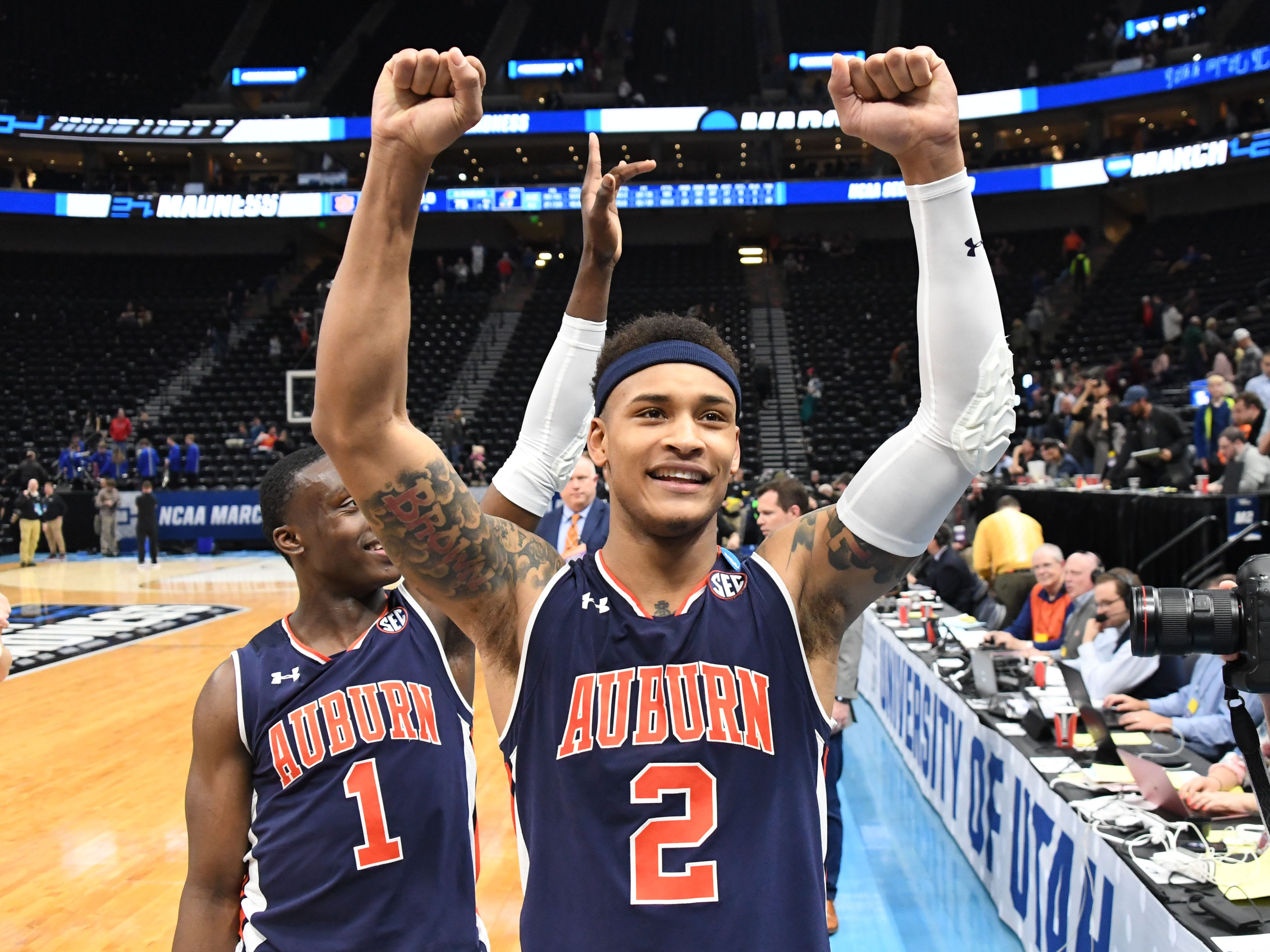 Auburn guard Bryce Brown (2) celebrates the win over the Kansas Jayhawks in the second round of the 2019 NCAA Tournament at Vivint Smart Home Arena on March 23, 2019, in Salt Lake City.