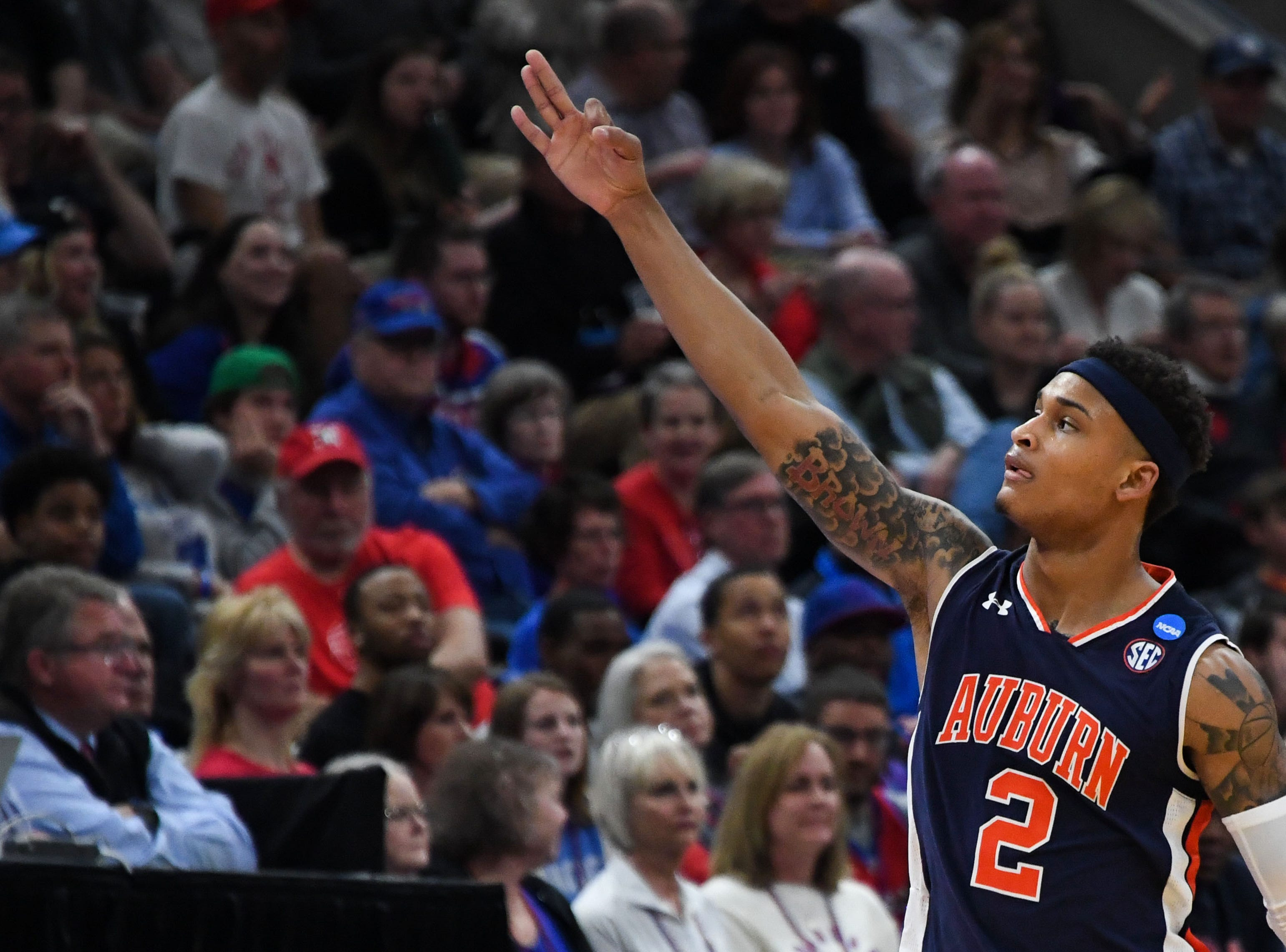 Mar 23, 2019; Salt Lake City, UT, USA; Auburn Tigers guard Bryce Brown (2) reacts during the first half in the second round of the 2019 NCAA Tournament against the Kansas Jayhawks at Vivint Smart Home Arena. Mandatory Credit: Kirby Lee-USA TODAY Sports