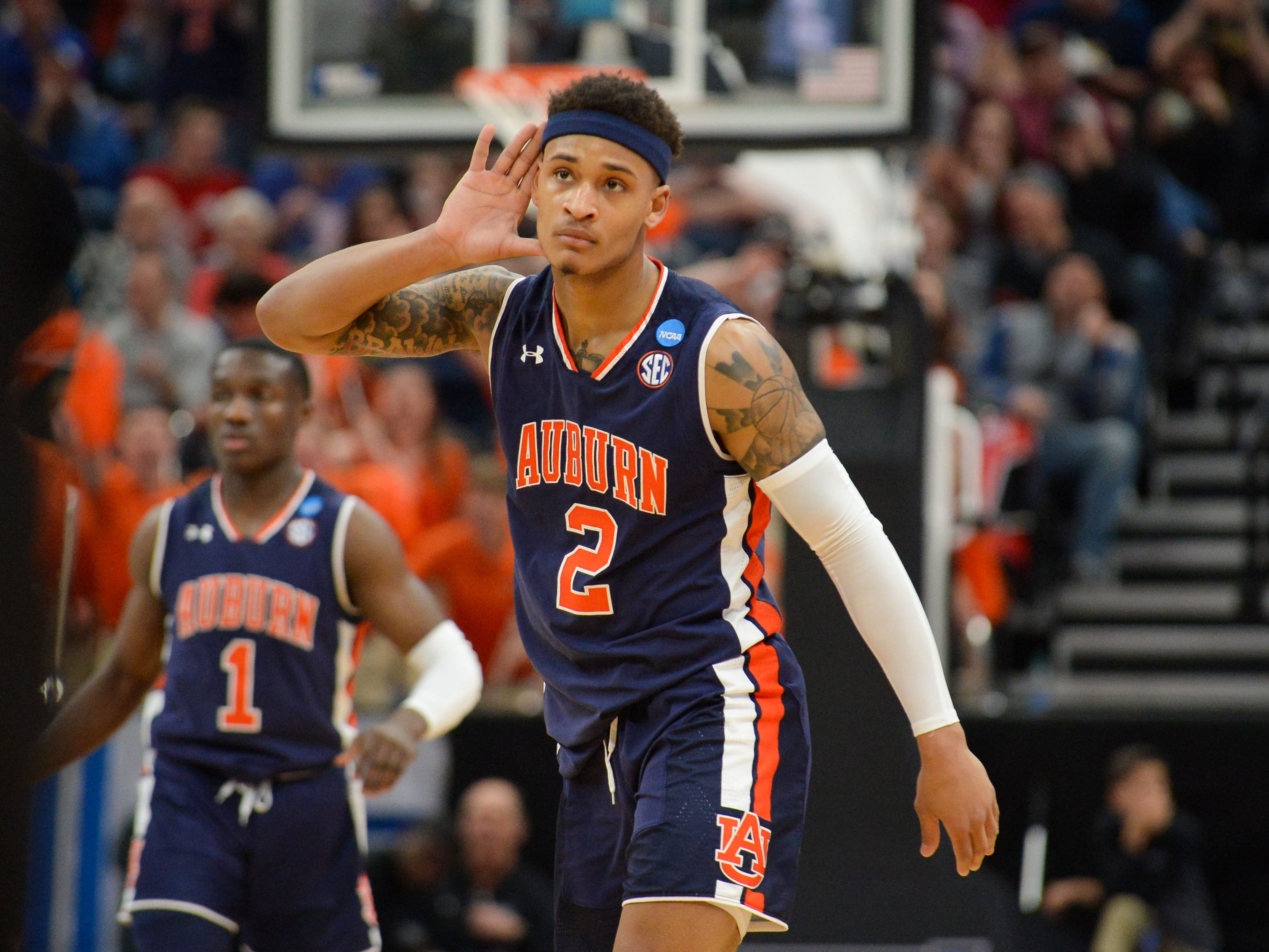 Mar 23, 2019; Salt Lake City, UT, USA; Auburn Tigers guard Bryce Brown (2) reacts during the first half in the second round of the 2019 NCAA Tournament against the Kansas Jayhawks at Vivint Smart Home Arena. Mandatory Credit: Gary A. Vasquez-USA TODAY Sports
