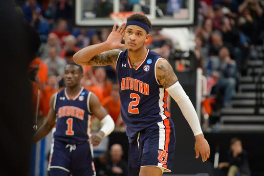 Auburn guard Bryce Brown (2) reacts after making a shot against Kansas in the second round of the NCAA Tournament at Vivint Smart Home Arena on March 23, 2019, in Salt Lake City.