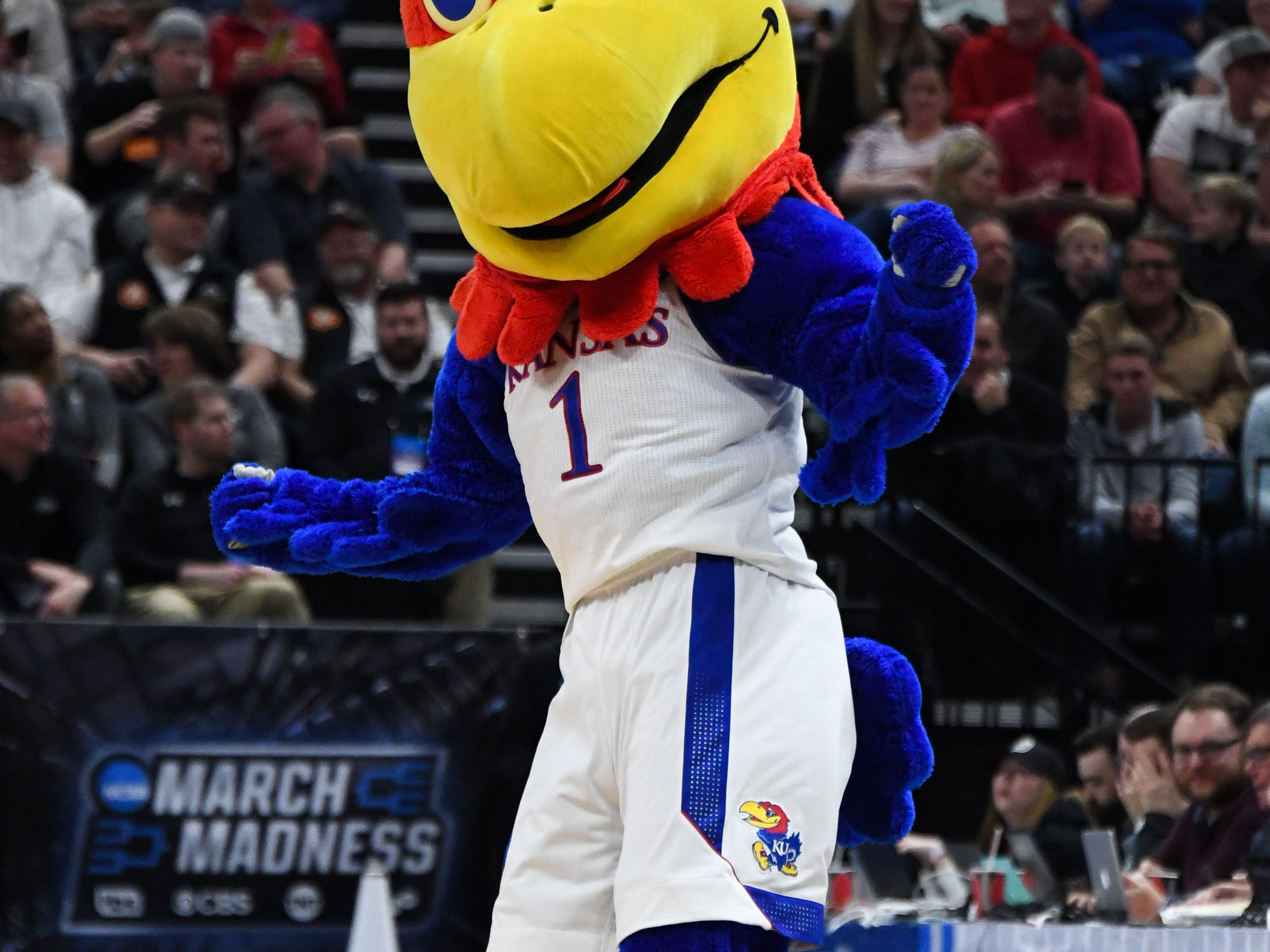 Mar 23, 2019; Salt Lake City, UT, USA; Kansas Jayhawks mascot performs during the first half in the second round of the 2019 NCAA Tournament against the Auburn Tigers at Vivint Smart Home Arena. Mandatory Credit: Kirby Lee-USA TODAY Sports