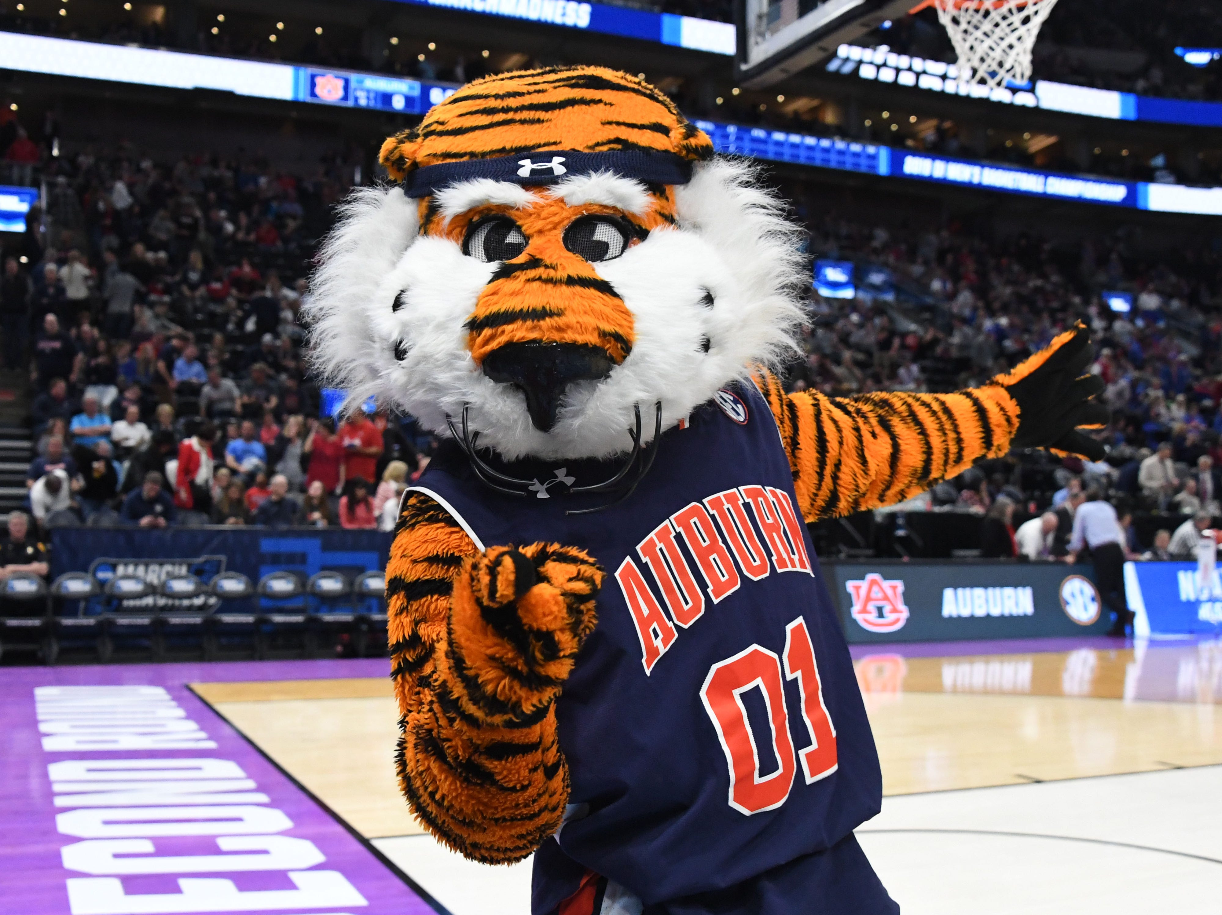 Mar 23, 2019; Salt Lake City, UT, USA; Auburn Tigers mascot Aubie performs before the game in the second round of the 2019 NCAA Tournament against the Kansas Jayhawks at Vivint Smart Home Arena. Mandatory Credit: Kirby Lee-USA TODAY Sports
