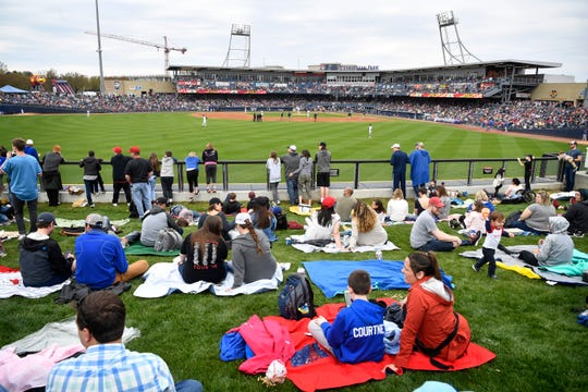 The grassy berm in left center field is a great place for families with kids to watch the Nashville Sounds, and tickets there are just $10 when you buy them the day of the game.