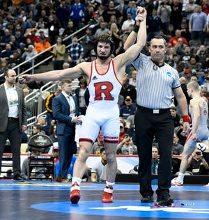 Mar 23, 2019; Pittsburgh, PA, USA; Rutgers wrestler Anthony Ashnault reacts after defeating Ohio State wrestler Micah Jordan in the finals of the 149 pound weight class during the NCAA Wrestling Championships at PPG Paints Arena. Ashnault, a senior, is from South Plainfield.