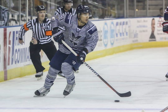 Pensacola's Eddie Matsushima (24) looks for an open teammate to pass the puck to against Macon during the last home game of the regular season at the Pensacola Bay Center on Saturday, March 23, 2019.