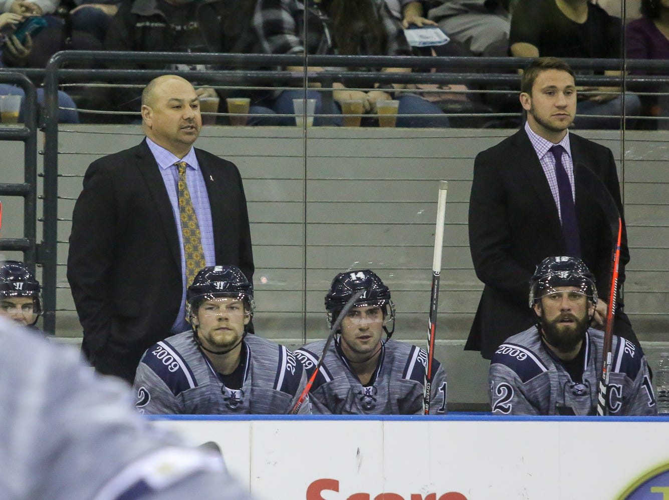 Pensacola head coach Rod Aldoff, left, and assistant coach Jeremy Gates look on as their team takes on Macon in the last home game of the regular season at the Pensacola Bay Center on Saturday, March 23, 2019. With over 4,300 people in attendance for Pensacola's 3-1 victory, the Ice Flyers mark six straight years of over 100,000 people at their home games each season. The team has won their last five games in a row and will finish out their last five games on the road before entering the playoffs in a couple of weeks.