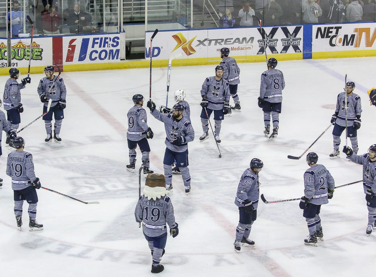 The Ice Flyers salute the fans after beating Macon 3-1 during the last home game of the regular season at the Pensacola Bay Center on Saturday, March 23, 2019. With over 4,300 people in attendance for Pensacola's victory, the Ice Flyers mark six straight years of over 100,000 people at their home games each season. The team has won their last five games in a row and will finish out their last five games on the road before entering the playoffs in a couple of weeks.