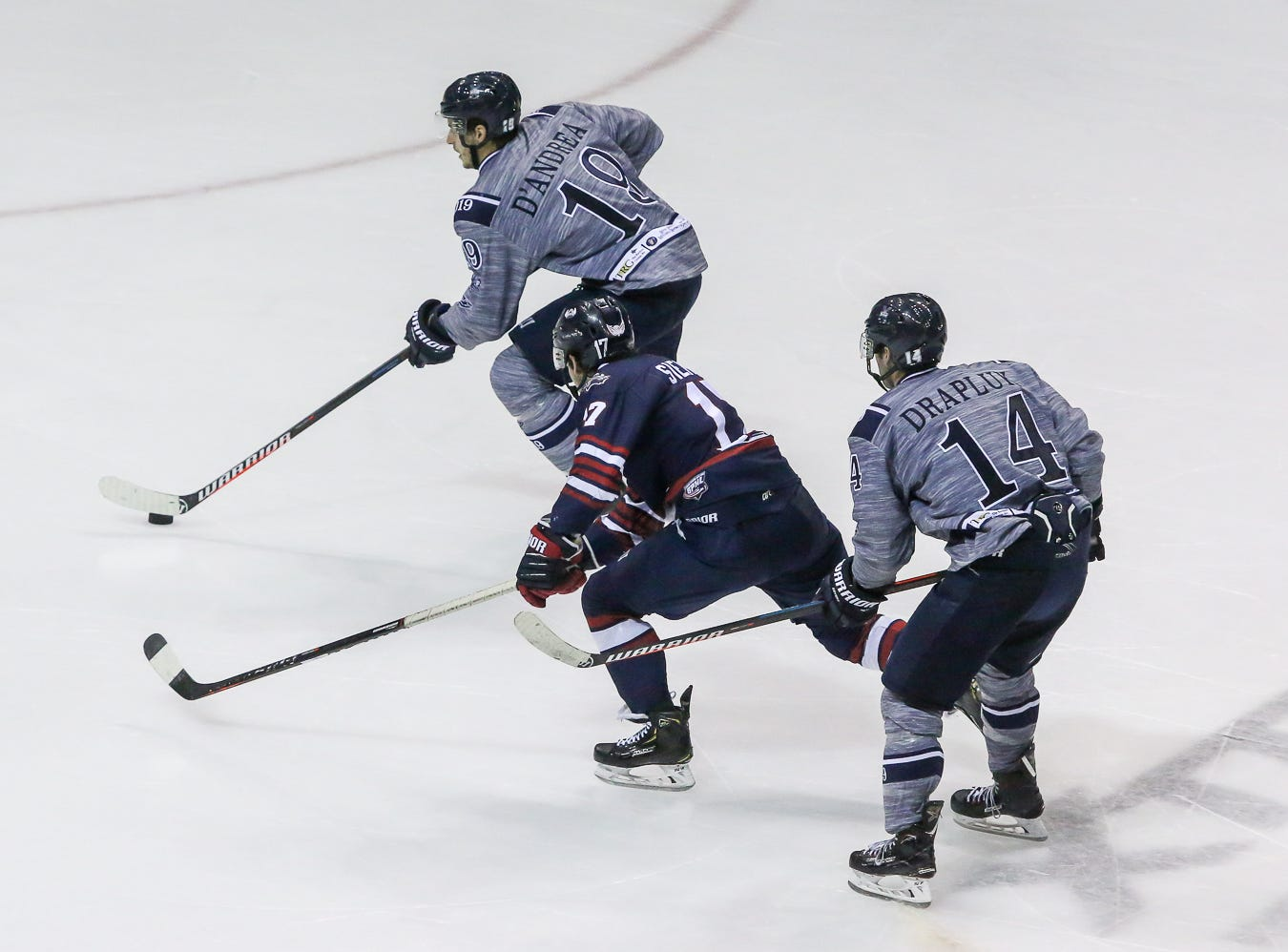 Pensacola's Brett D'Andrea (19) breaks away from Macon's John Siemer (17) and takes a shot during the last home game of the regular season at the Pensacola Bay Center on Saturday, March 23, 2019. With over 4,300 people in attendance for Pensacola's 3-1 victory, the Ice Flyers mark six straight years of over 100,000 people at their home games each season. The team has won their last five games in a row and will finish out their last five games on the road before entering the playoffs in a couple of weeks.
