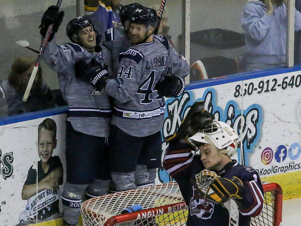 The Ice Flyers celebrate after a goal against Macon during the last home game of the regular season at the Pensacola Bay Center on Saturday, March 23, 2019. With over 4,300 people in attendance for Pensacola's 3-1 victory, the Ice Flyers mark six straight years of over 100,000 people at their home games each season. The team has won their last five games in a row and will finish out their last five games on the road before entering the playoffs in a couple of weeks.