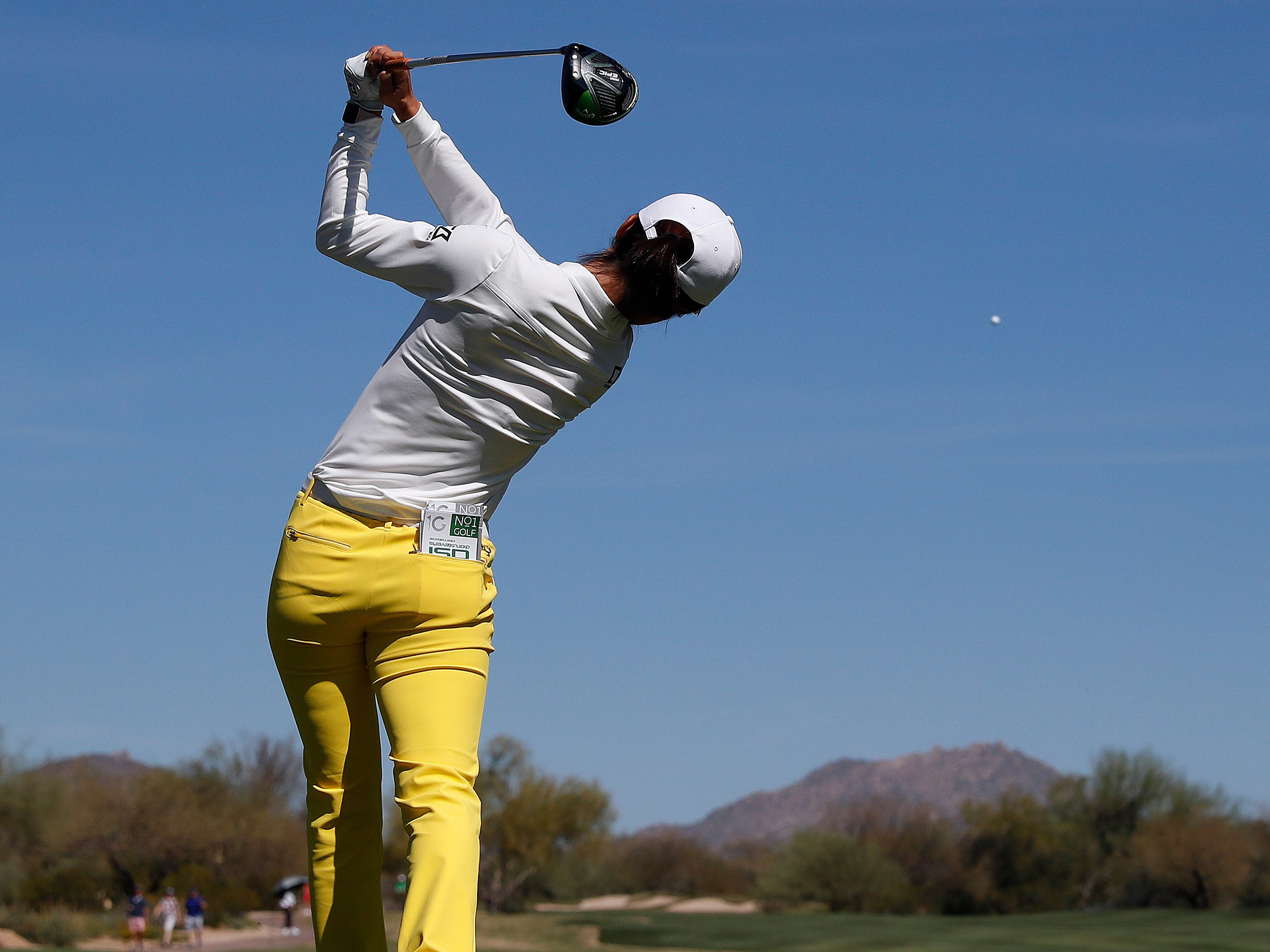 Yu Liu hits from the second tee during the third round of the Founders Cup LPGA golf tournament, Saturday, March 23, 2019, in Phoenix.
