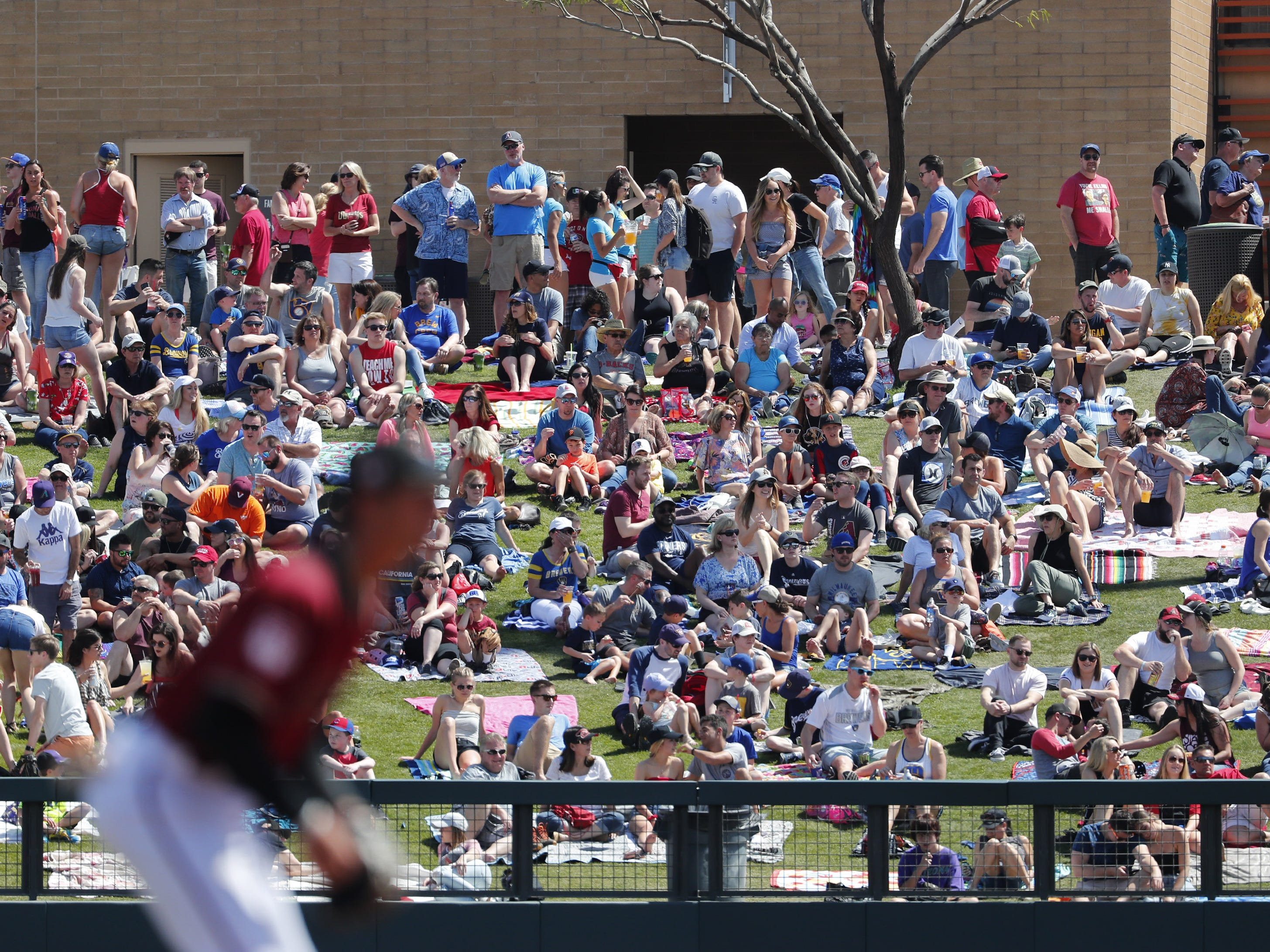 Fans soak up the sun during spring training action between the Arizona Diamondbacks and the Milwaukee Brewers at Salt River Fields at Talking Stick March 24, 2019.