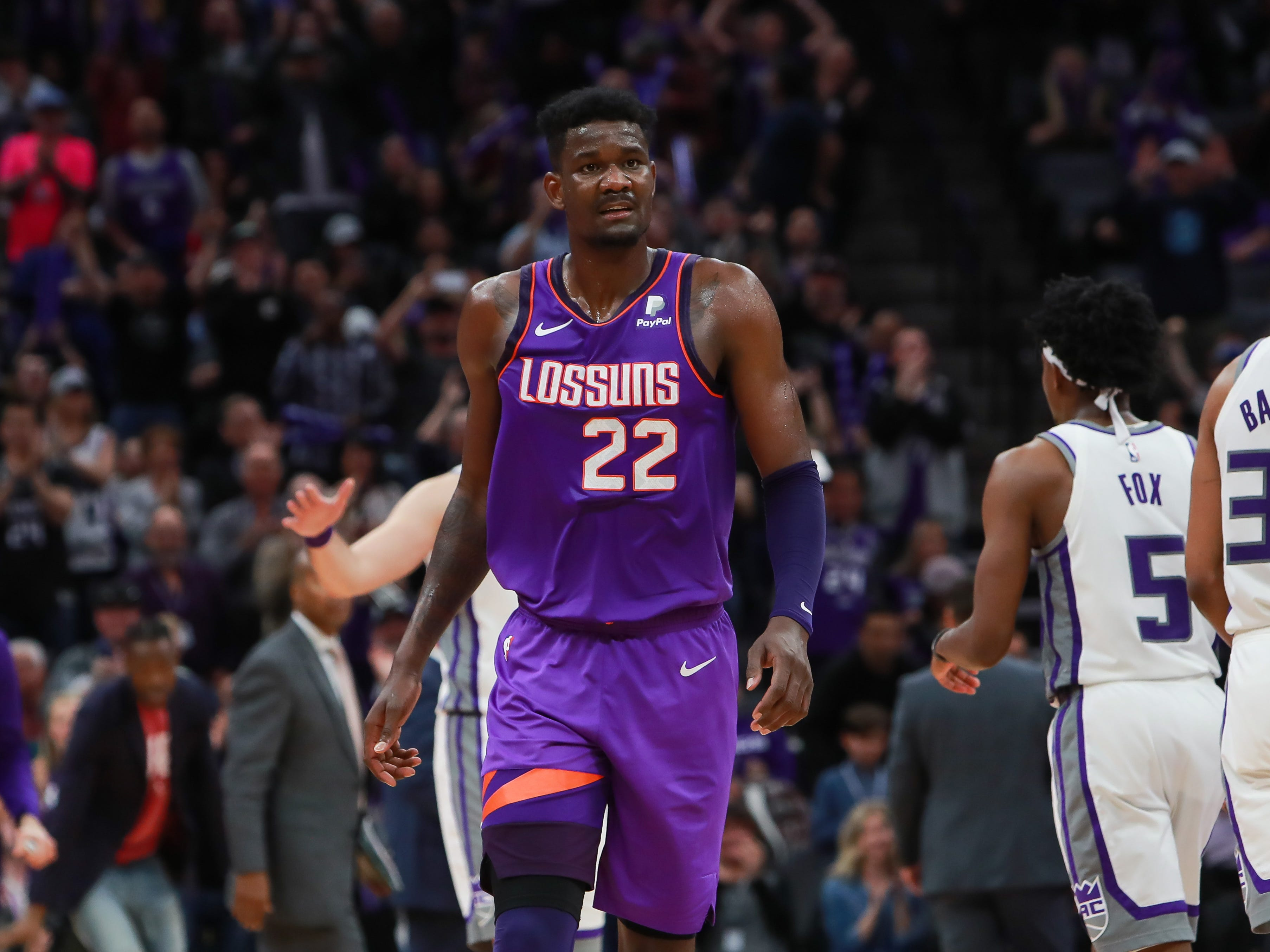 Mar 23, 2019; Sacramento, CA, USA; Phoenix Suns center Deandre Ayton (22) walks off the court against the Sacramento Kings at Golden 1 Center.
