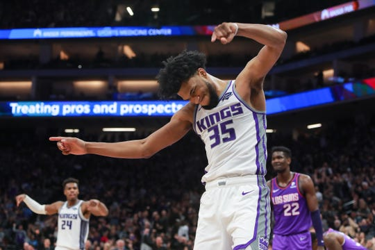 Mar 23, 2019; Sacramento, CA, USA; Sacramento Kings forward Marvin Bagley III (35) celebrates after a play during the fourth quarter against the Phoenix Suns at Golden 1 Center.