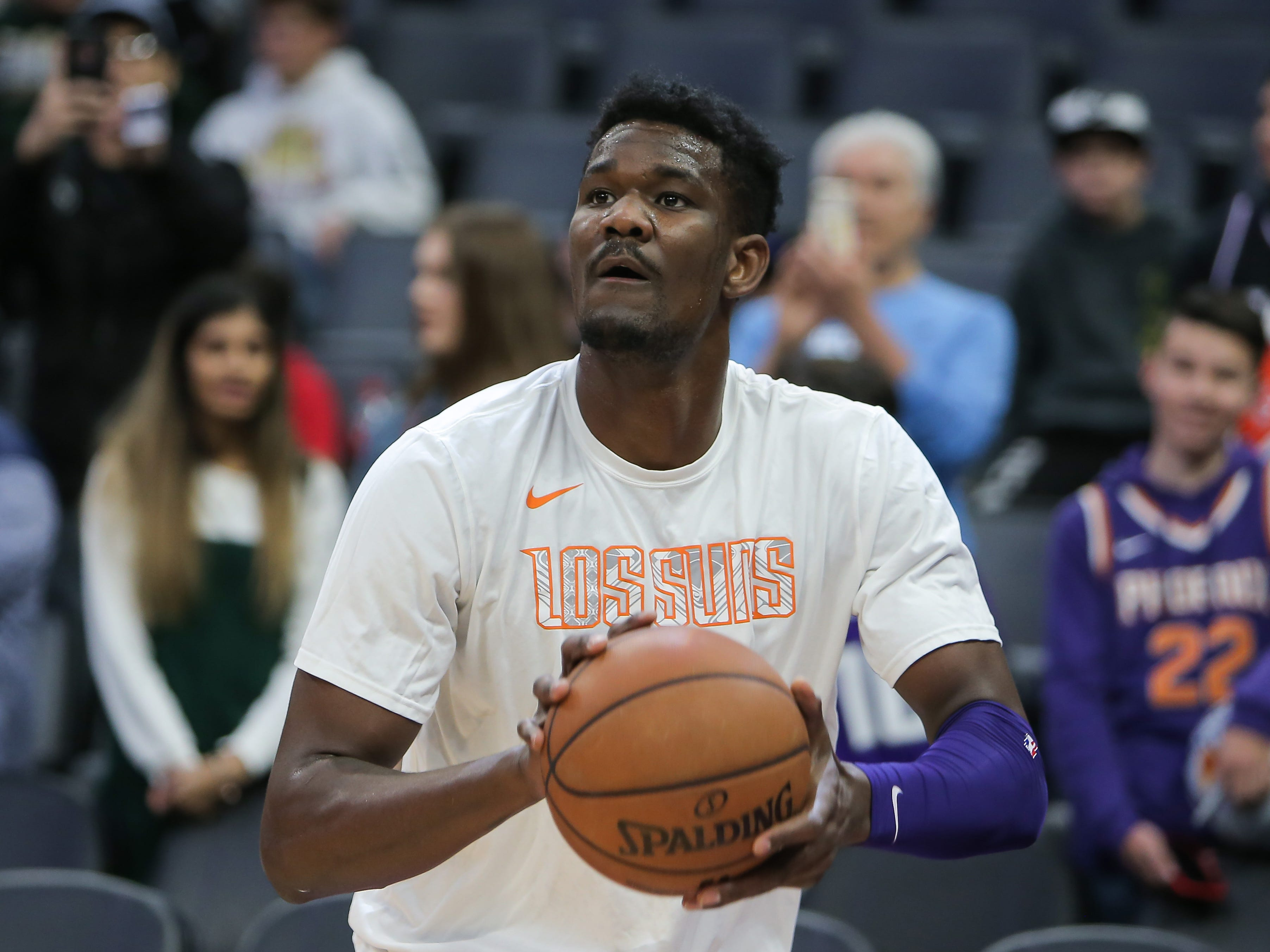 Mar 23, 2019; Sacramento, CA, USA; Phoenix Suns center Deandre Ayton (22) warms up before the game against the Sacramento Kings at Golden 1 Center.