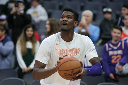 Mar 23, 2019; Sacramento, CA, USA; Phoenix Suns center Deandre Ayton (22) warms up before the game against the Sacramento Kings at Golden 1 Center.