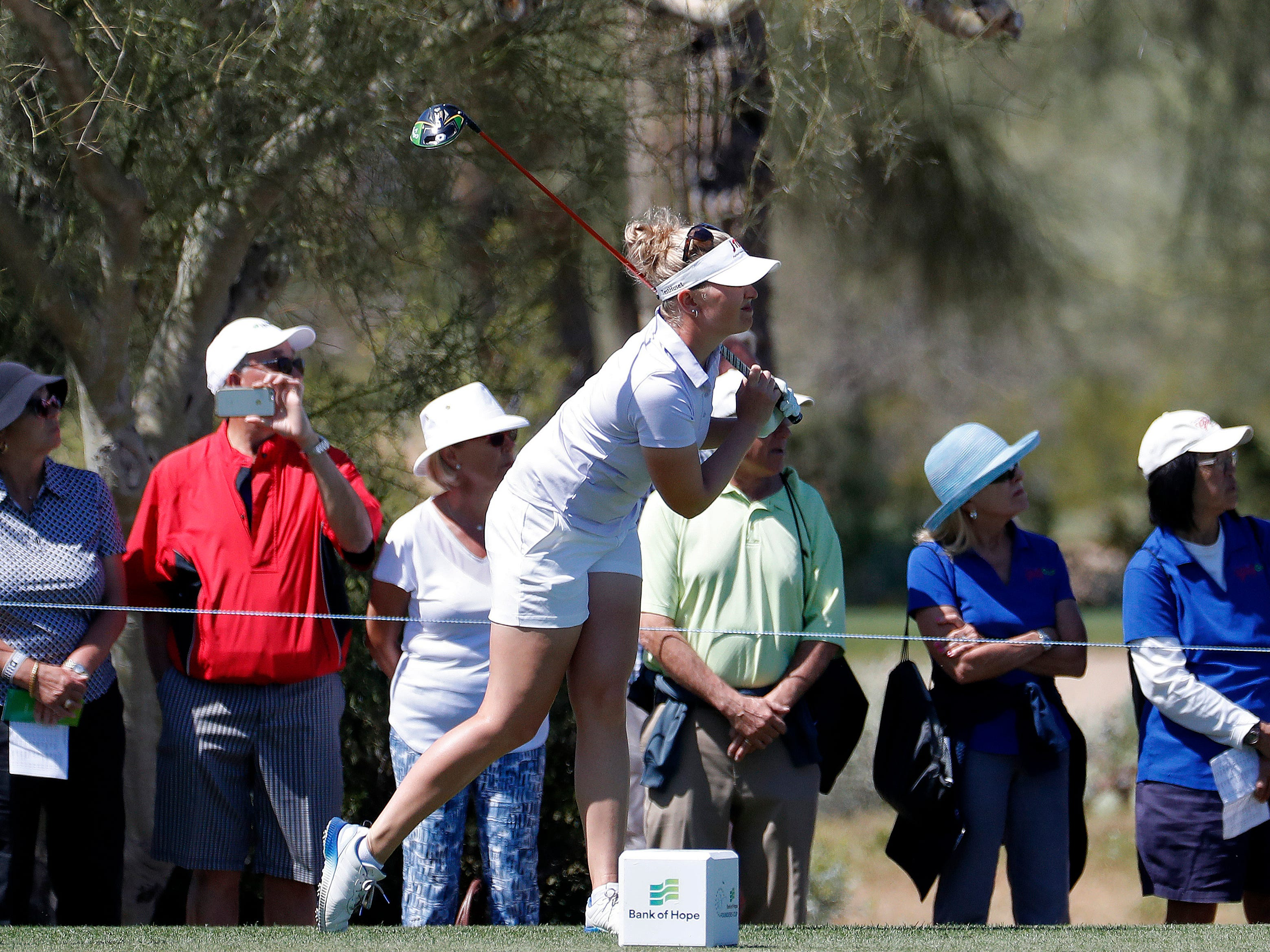 Nanna Koerstz Madsen watches her shot from the second tee during the third round of the Founders Cup LPGA golf tournament, Saturday, March 23, 2019, in Phoenix.