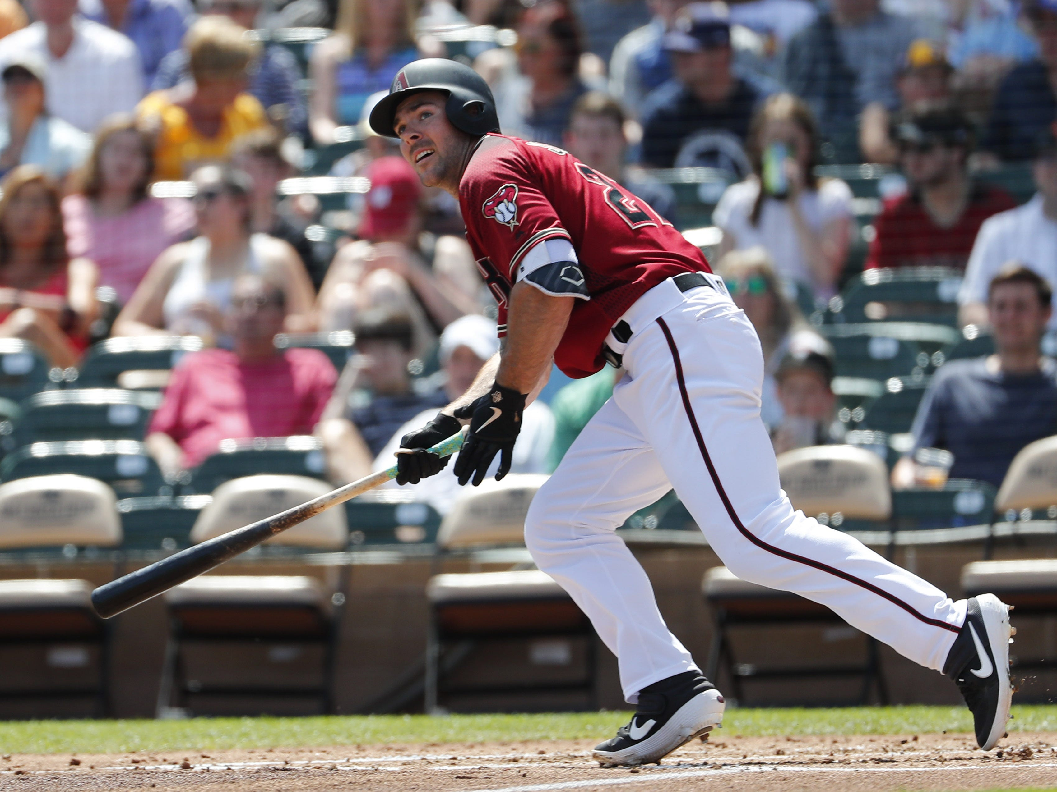 Arizona Diamondbacks' Matt Szczur hits a double against the Milwaukee Brewers during spring training at Salt River Fields at Talking Stick March 24, 2019.