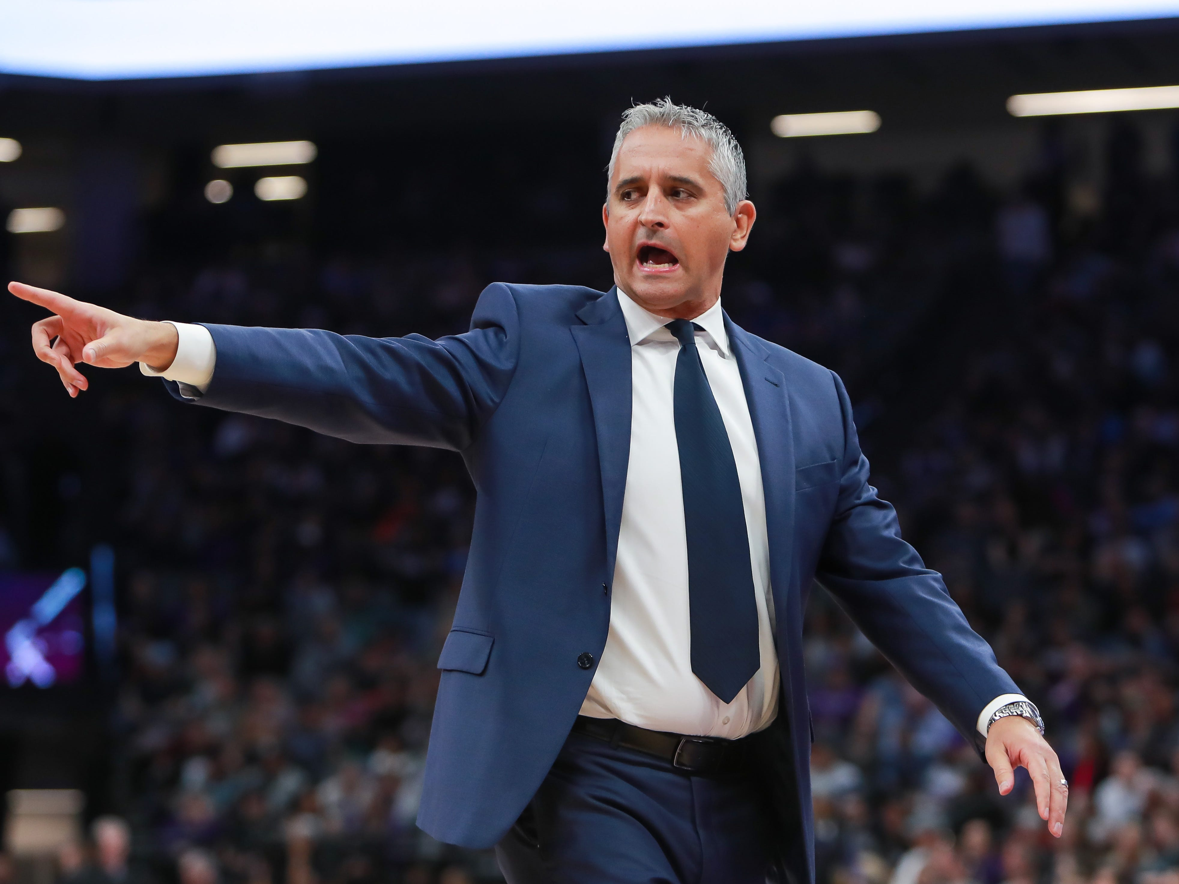 Mar 23, 2019; Sacramento, CA, USA; Phoenix Suns head coach Igor Kokoskov calls a time during the second quarter against the Sacramento Kings at Golden 1 Center.