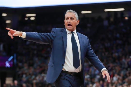 Mar 23, 2019; Sacramento, CA, USA; Phoenix Suns head coach Igor Kokoskov calls a time during the second quarter against the Sacramento Kings at Golden 1 Center.