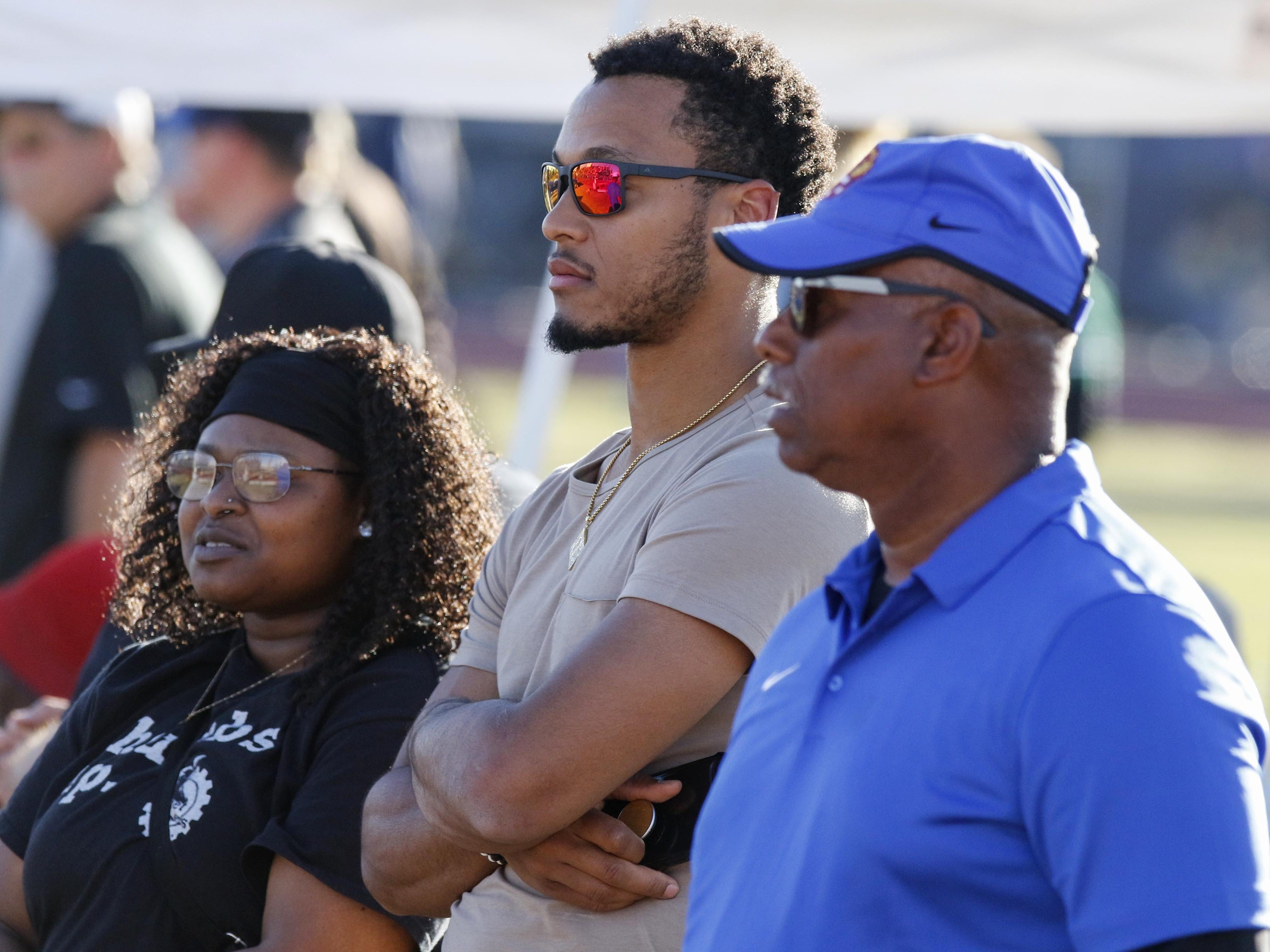 Former Chandler High quarterback and newest Arizona Cardinals quarterback Brett Hundley watches track athletes during the 79th Annual Nike Chandler Rotary Invitational  March 23, 2019.