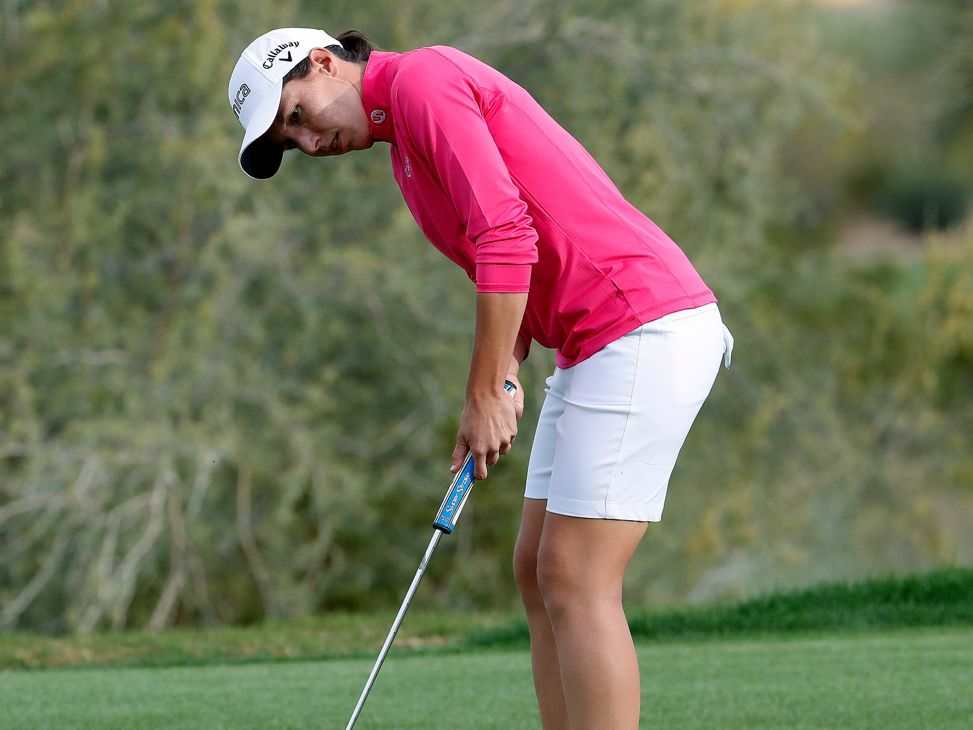 Carlota Ciganda putts for birdie on the 18th green during the third round of the Founders Cup LPGA golf tournament Saturday, March 23, 2019, in Phoenix.