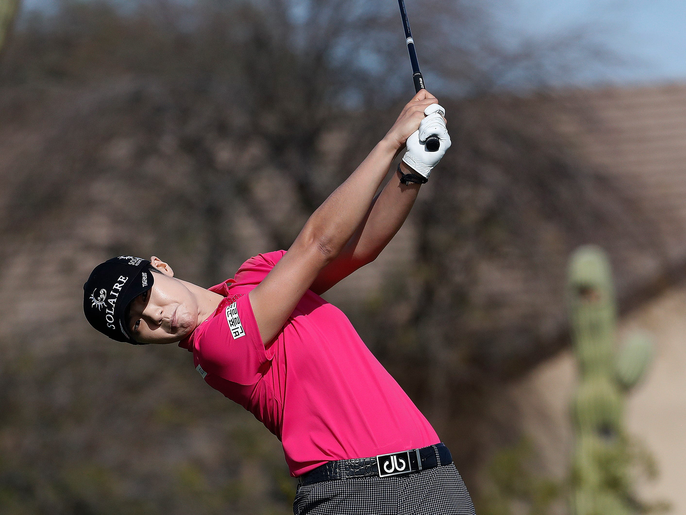 Sung Hyun Park hits from the eighth tee during the third round of the Founders Cup LPGA golf tournament Saturday, March 23, 2019, in Phoenix.