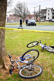York City Police investigate the scene of a shooting at Williams Park in York City, Sunday, March 24, 2019. Dawn J. Sagert photo
