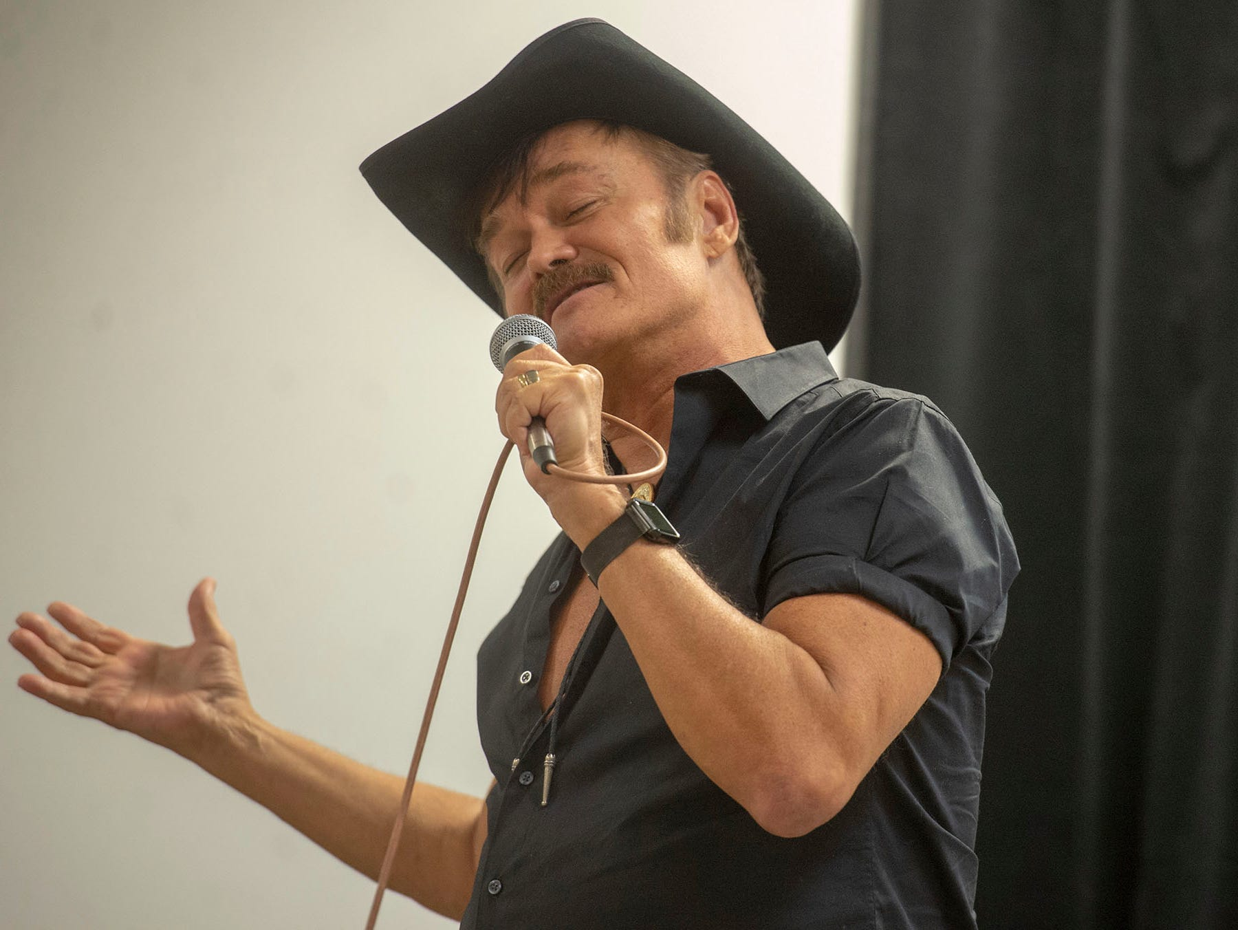 Randy Jones sings one of his own songs during a performance for vendors and guest at the White Rose Comic Con, which runs through Sunday, March 24, 2019 at Utz Arena of the York Fairgrounds.