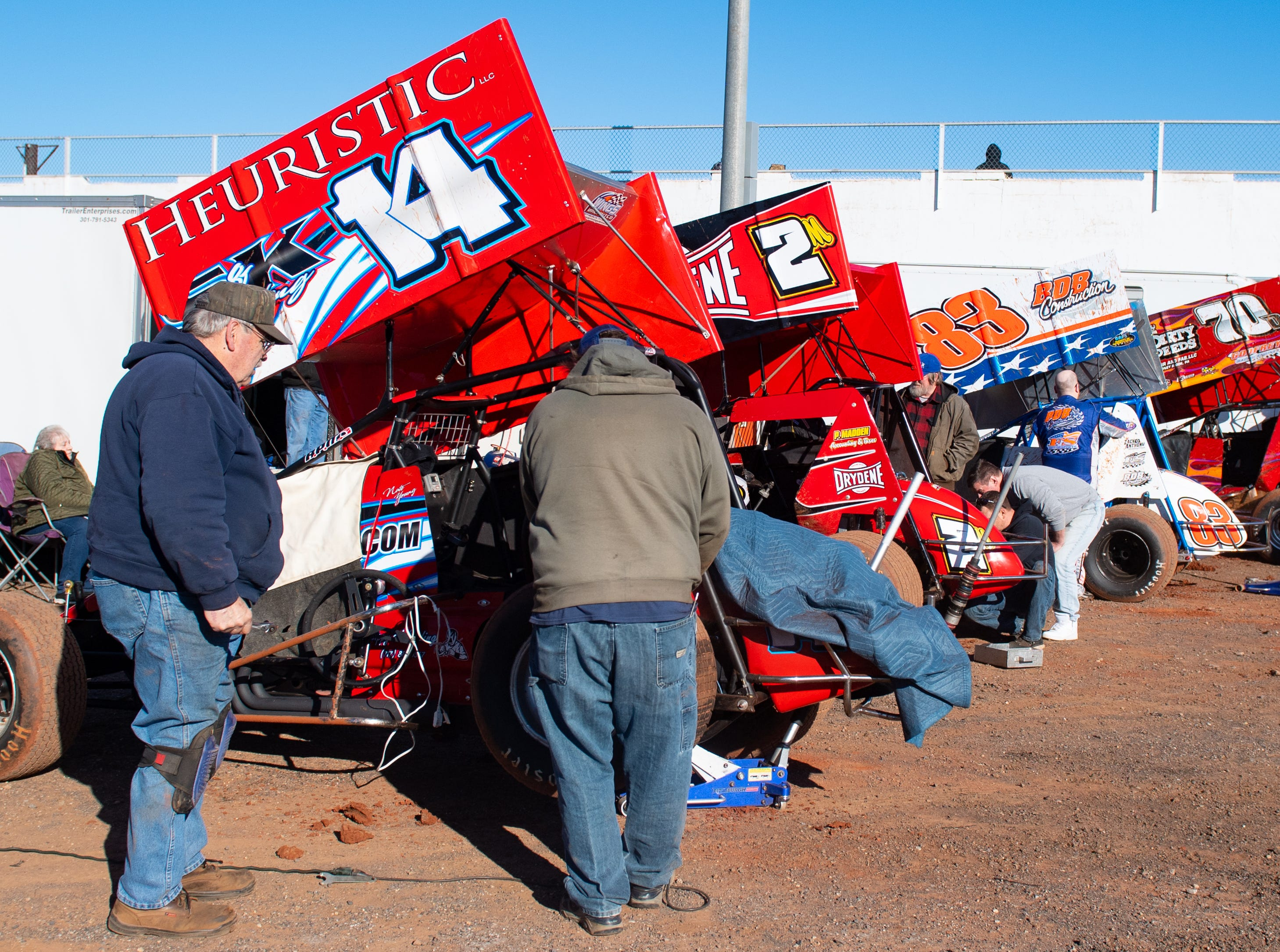Racers prep for the Super Sportsman races during the 2019 season opener at BAPS Motor Speedway, March 23, 2019.