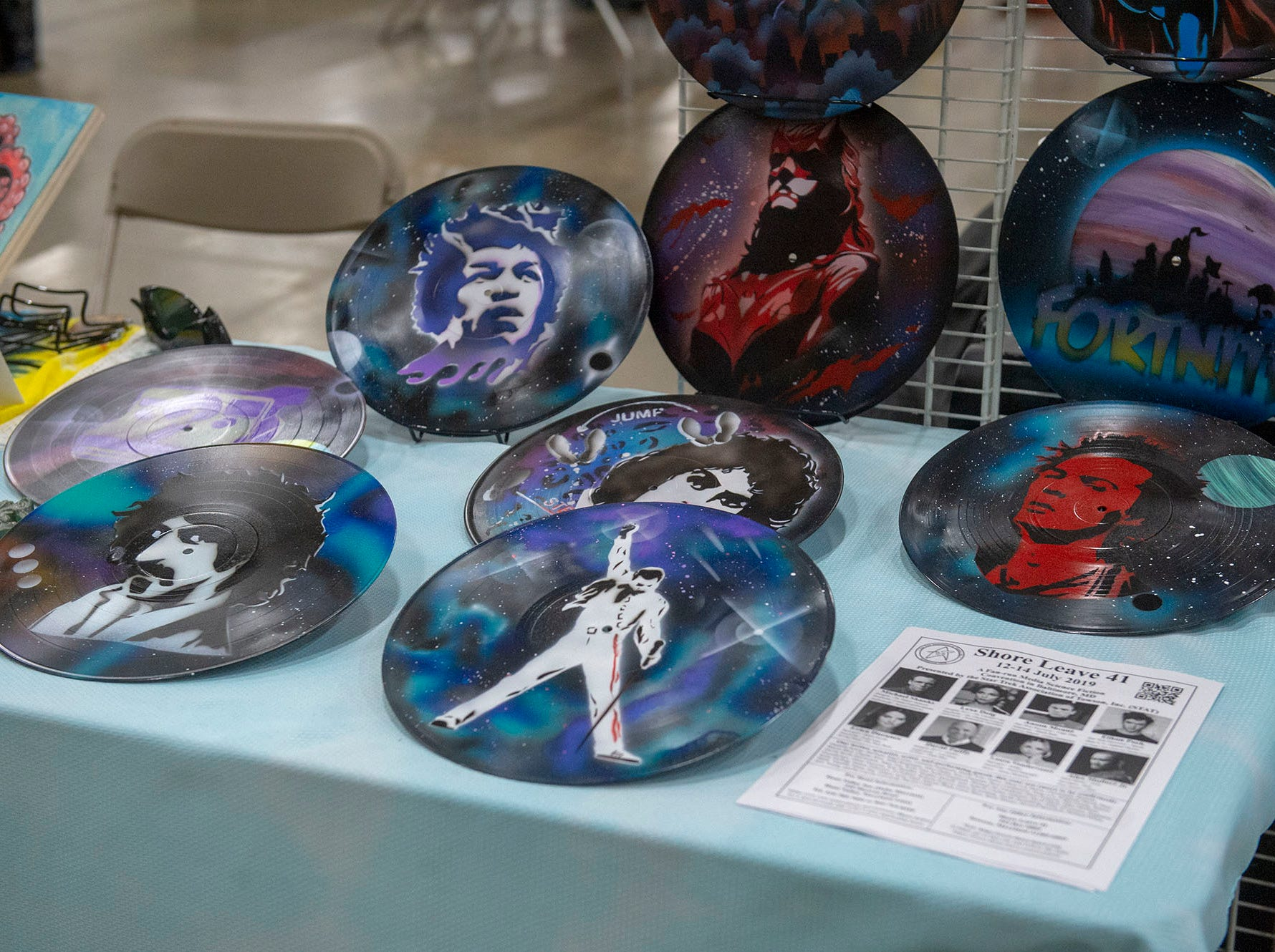 Here's an idea for those old albums and 45s you have laying around the house. Turn them into discs of art, as shown at this exhibit at the White Rose Comic Con, which runs through Sunday, March 24, 2019 at Utz Arena of the York Fairgrounds.