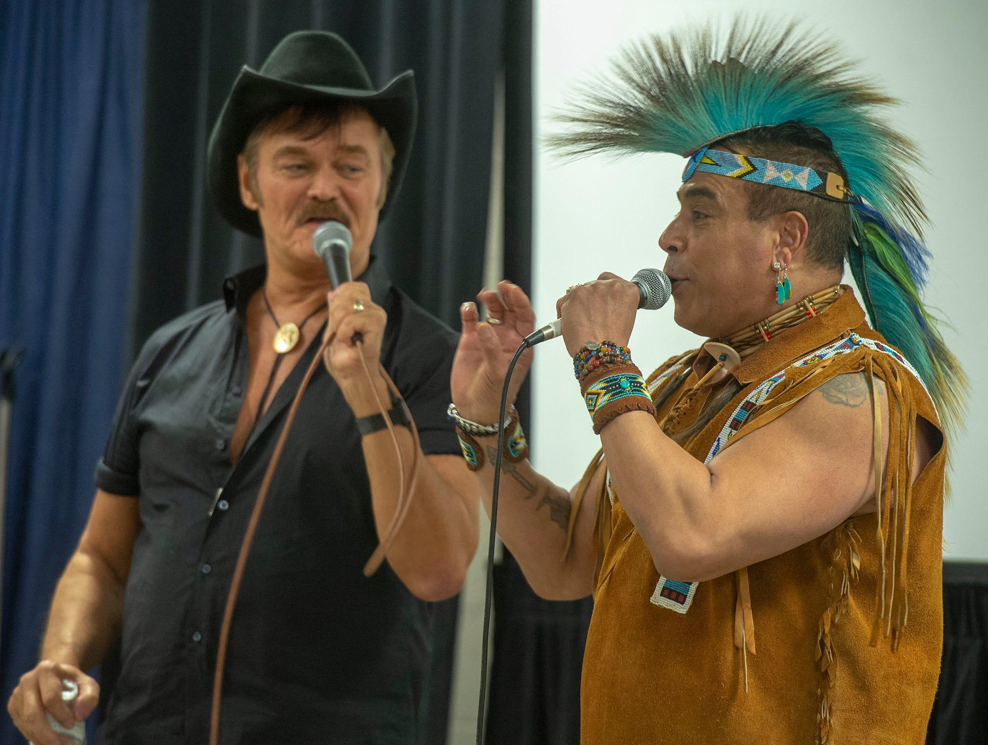 Randy Jones, left, and Felipe Rose were among the founding members of Village People. They performed Saturday at the White Rose Comic Con, which runs through Sunday, March 24, 2019 at Utz Arena of the York Fairgrounds.