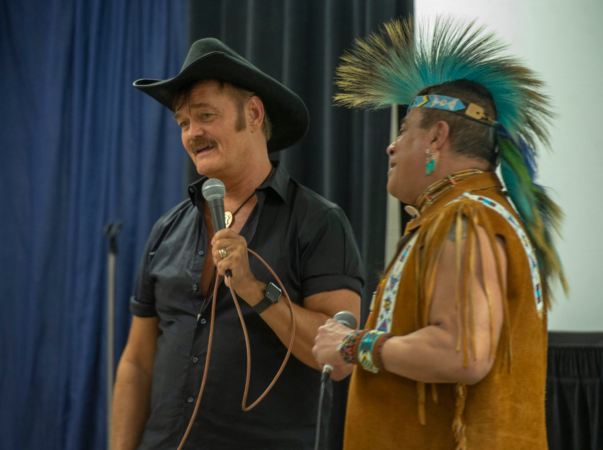 Randy Jones used a medley of Village People songs to introduce bandmate Felipe Rose to the fans Saturday night. The duo performed at the White Rose Comic Con, which runs through Sunday, March 24, 2019 at Utz Arena of the York Fairgrounds.