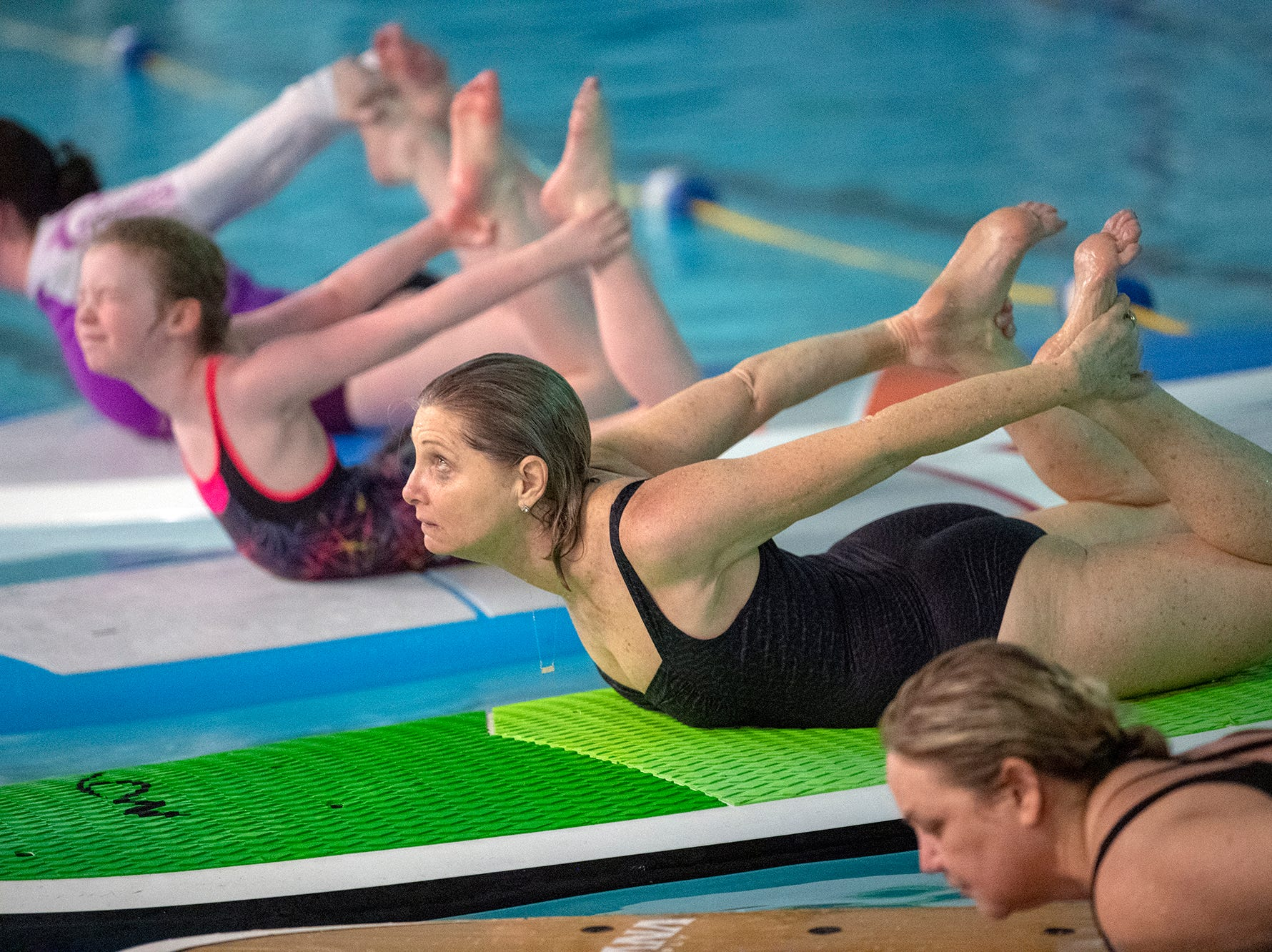 The YWCA York is offering a Paddle Board Yoga Class in their pool for the first time. Shank's Mare provided the boards. The class is offered on the open water by Shank's Mare in warmer weather.