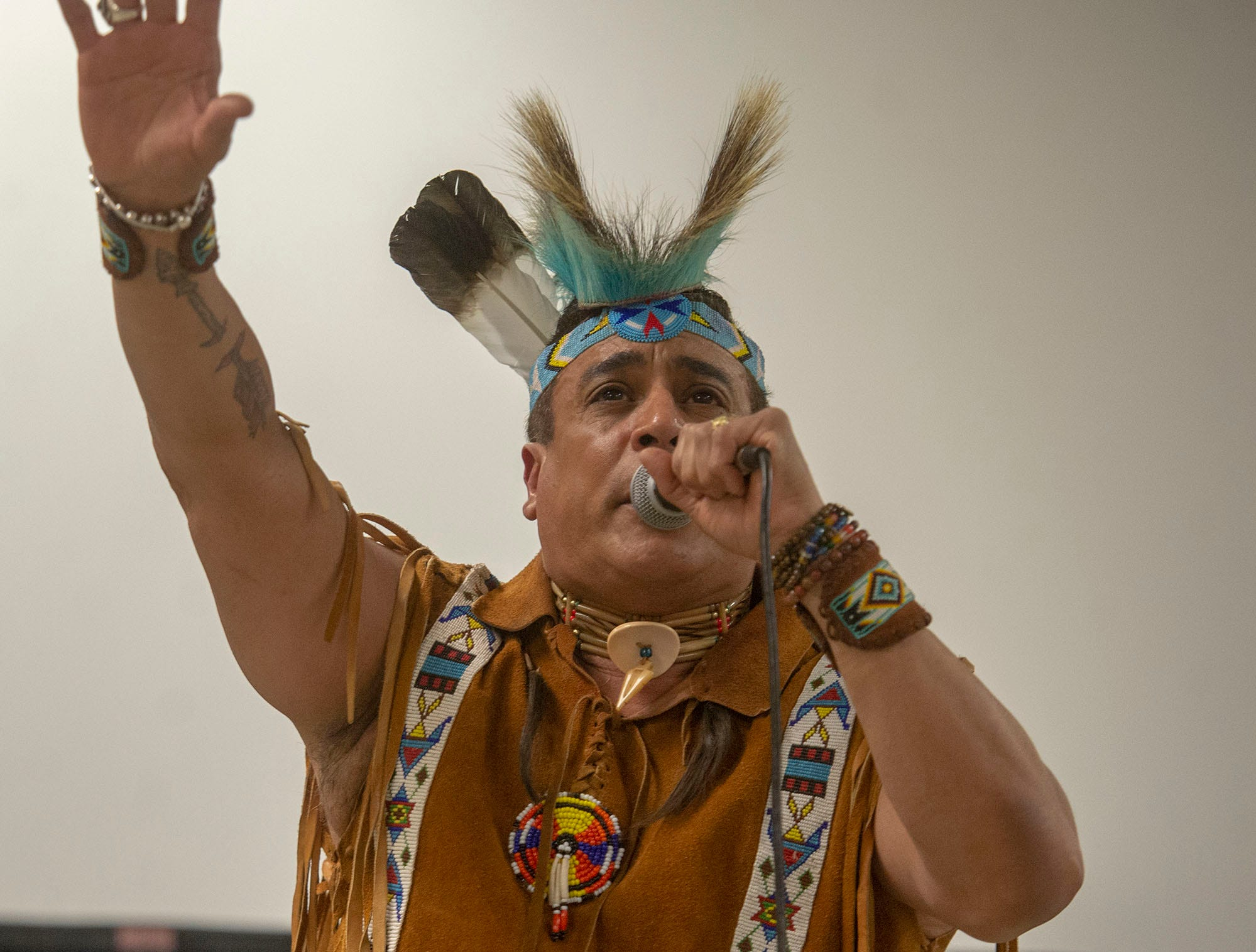 An original member of Village People, Felipe Rose closes one of his original songs with a Native American prayer. He sang Saturday at the White Rose Comic Con, which runs through Sunday, March 24, 2019 at Utz Arena of the York Fairgrounds.