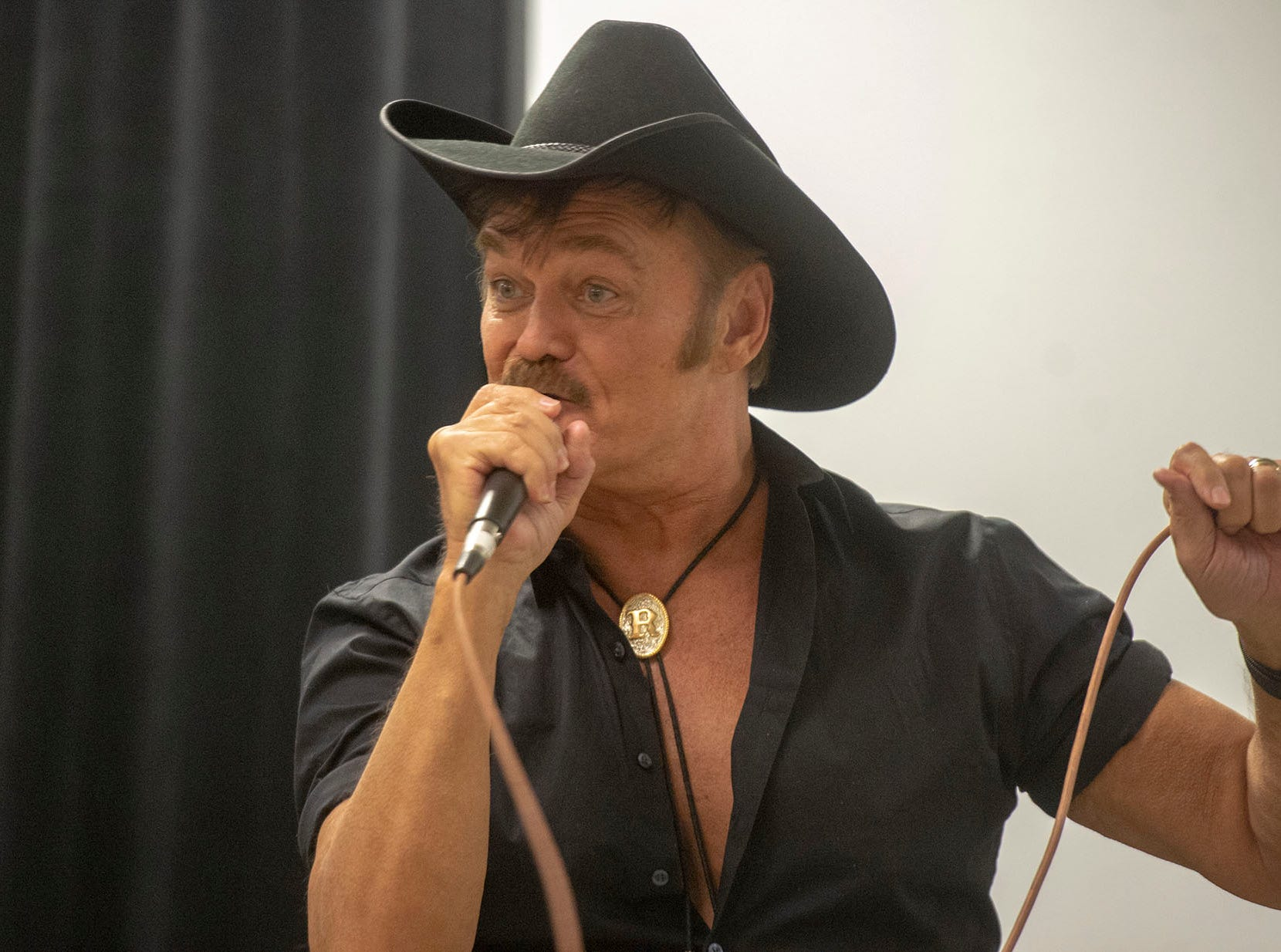 Randy Jones, the original Cowboy of the Village People performs for vendors and guests Saturday night at the White Rose Comic Con, which runs through Sunday, March 24, 2019 at Utz Arena of the York Fairgrounds.