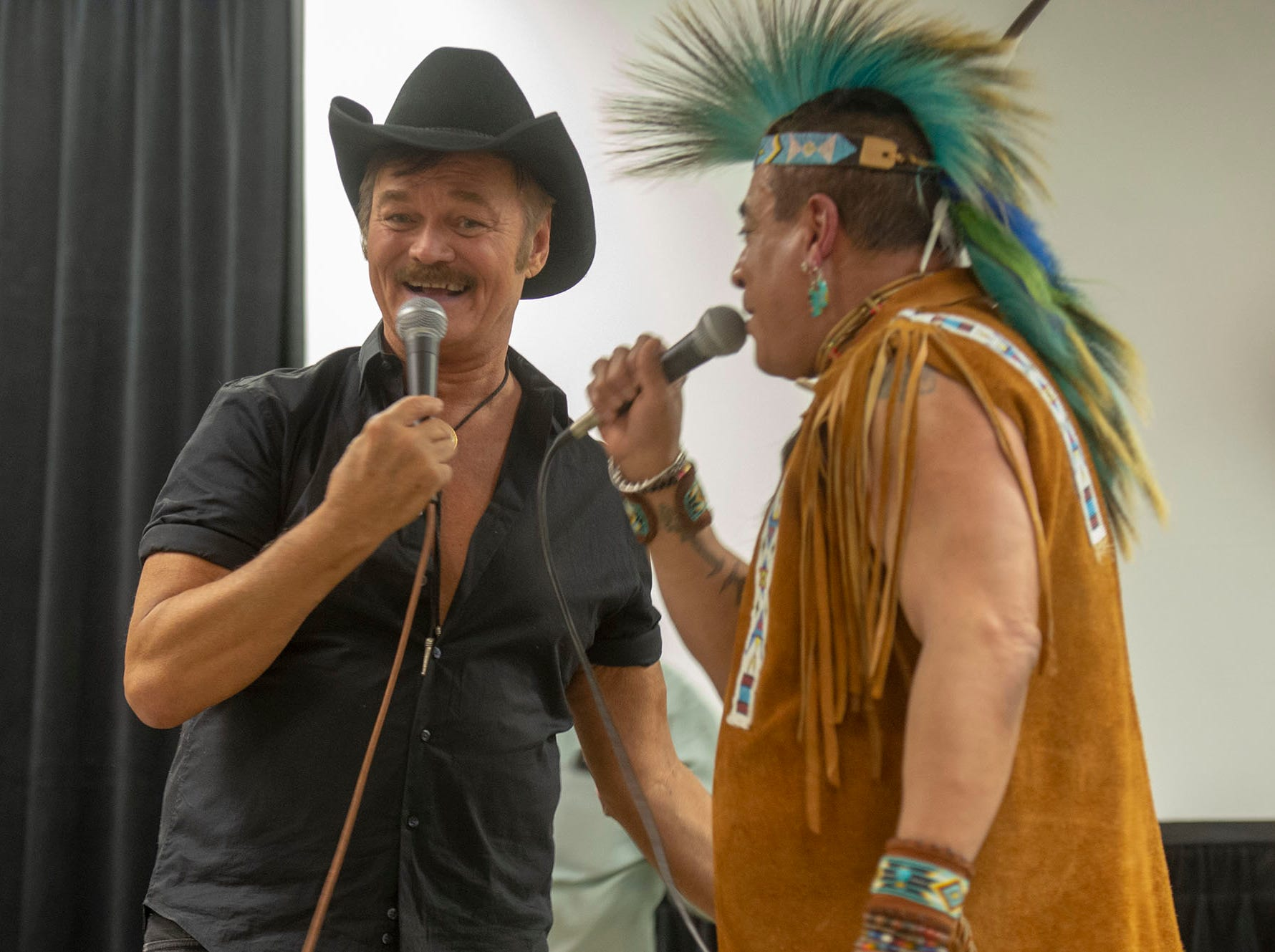 """Because they couldn't not sing the Village People's most famous song, Randy Jones and Felipe Rose closed their show with """"Y.M.C.A."""" on Saturday at the White Rose Comic Con, which runs through Sunday, March 24, 2019 at Utz Arena of the York Fairgrounds."""