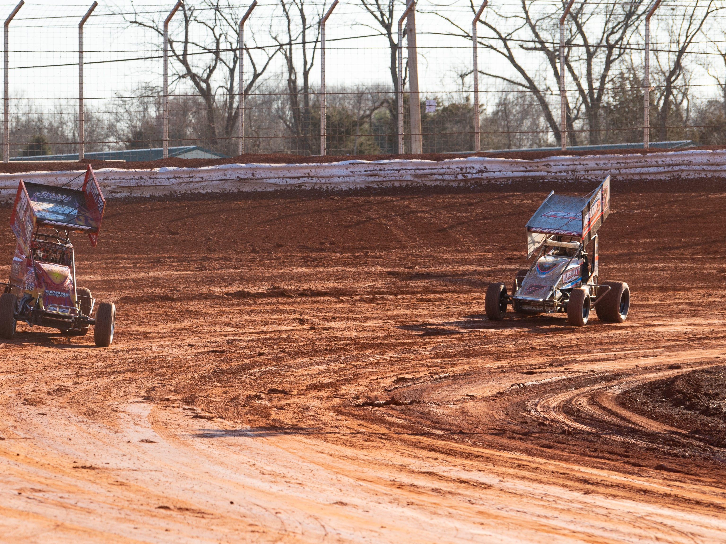 Super Sportsman drivers come around the corner during the 2019 season opener at BAPS Motor Speedway, March 23, 2019.