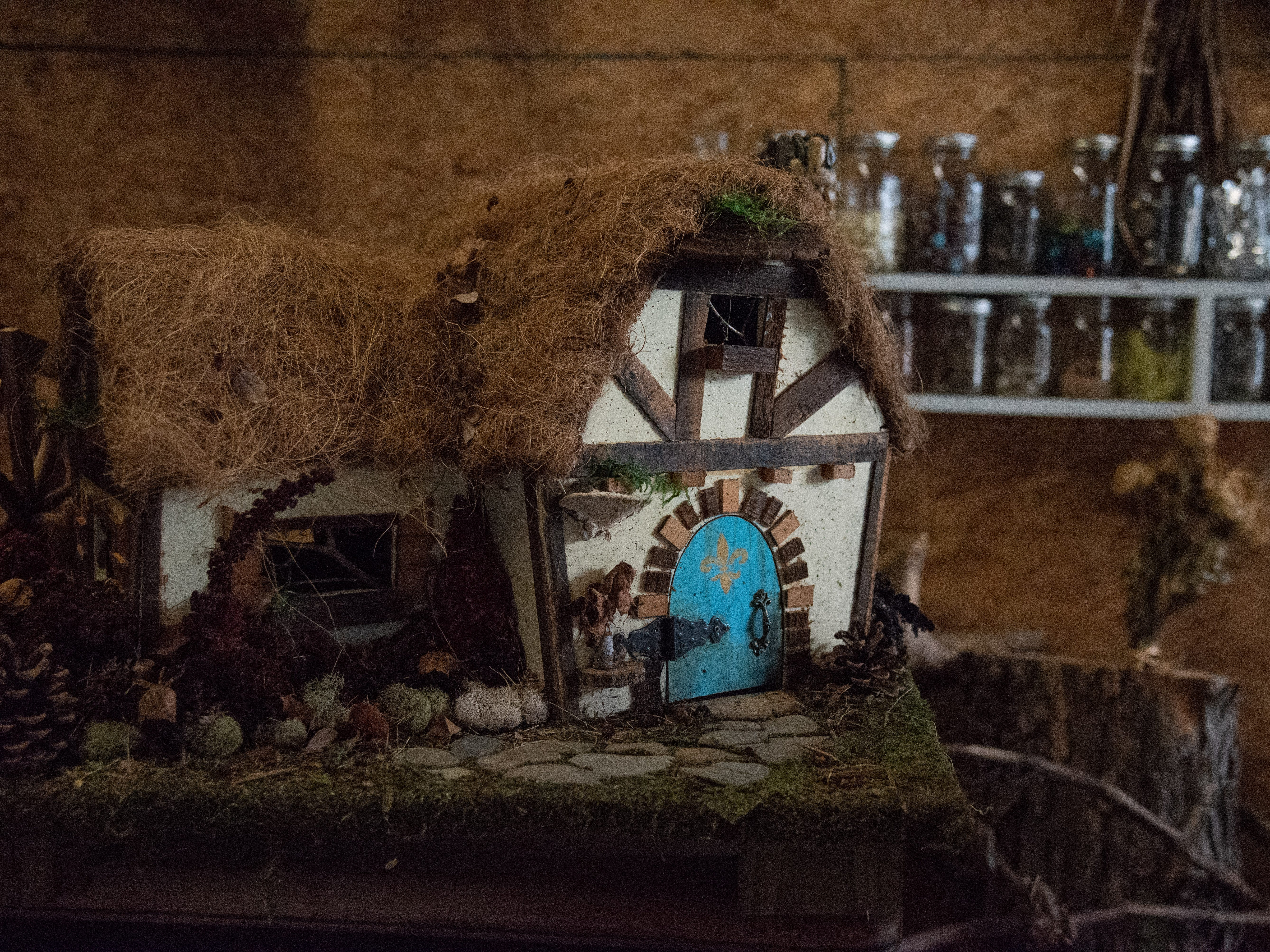 Betsy Marshall and her husband, Chris, love bringing intricate fairy houses to life inside their magical garage-turned-workshop at their home in Rush. The two have been creating and maintaining the fairy houses at the park in Henrietta for five years until they were asked to remove them last week. March 24, 2019.