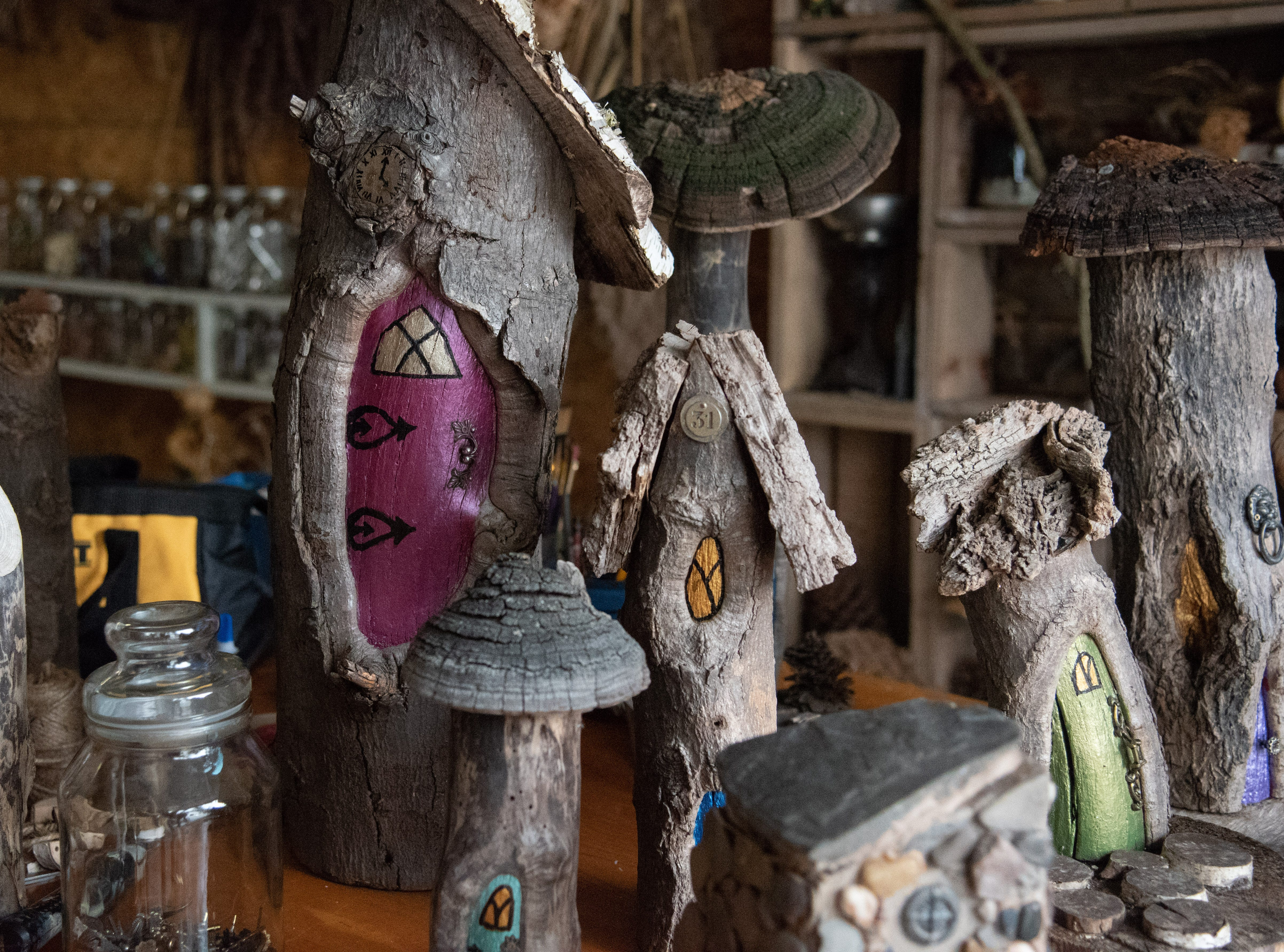 A few of the mobile fairy houses that were removed from Tinker Nature Park last week have been safely relocated to their creators' magical workshop in Rush. Betsy Marshall and her husband, Chris, have been creating and maintaining the fairy houses at the park in Henrietta for five years until they were asked to remove them last week. March 24, 2019.