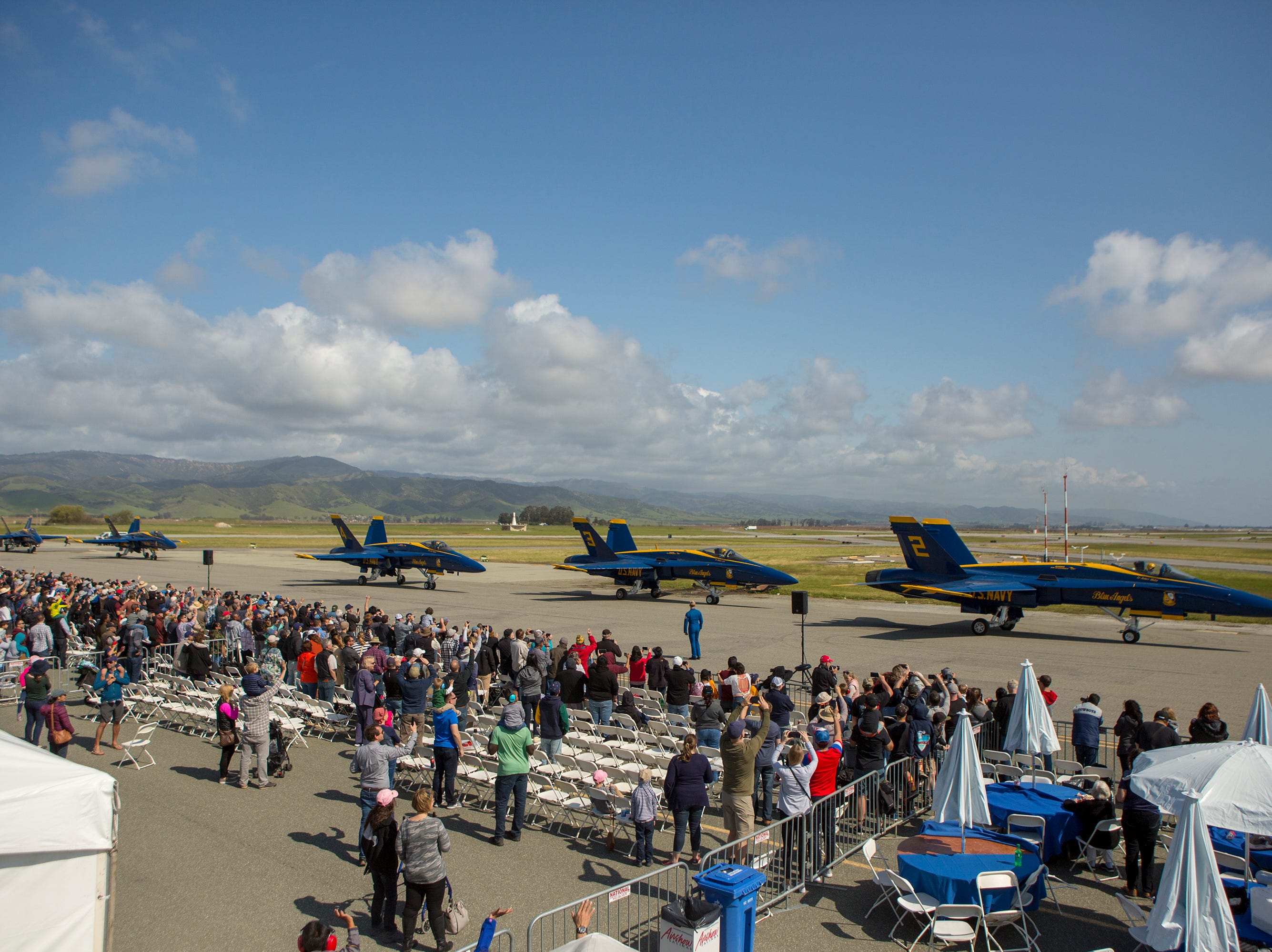 The Blue Angels taxi to takeoff during the California International Airshow Salinas at the Salinas Airport on March 23, 2019. (Photo by David Royal)